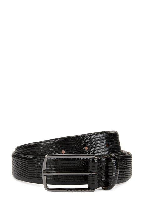 BOSS - Cinturón en piel de becerro con estampado de lagarto grabado f101cedf680a
