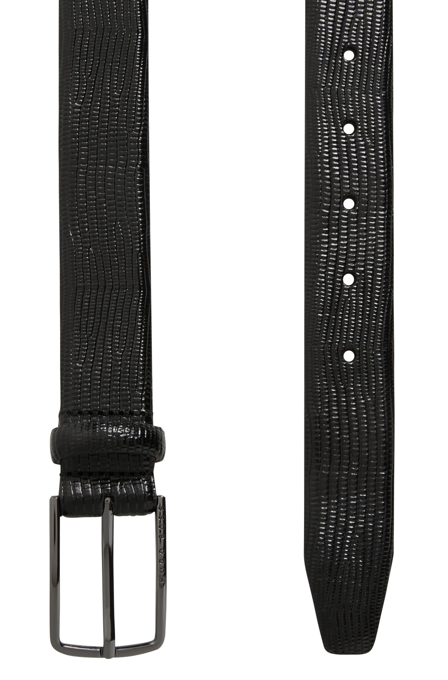 Calf-leather belt with embossed lizard print