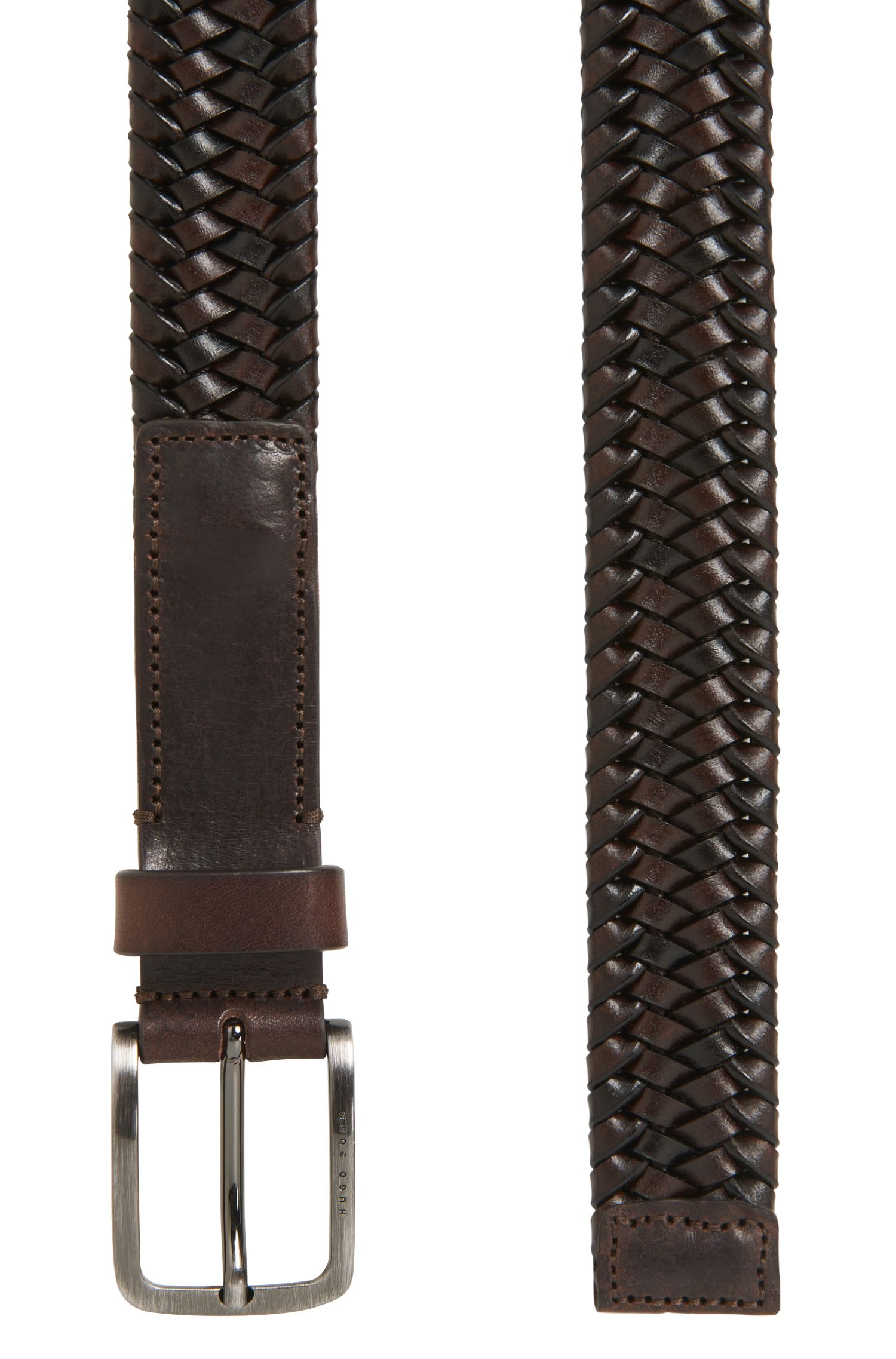 Woven leather belt with brushed silver-effect buckle, Dark Brown