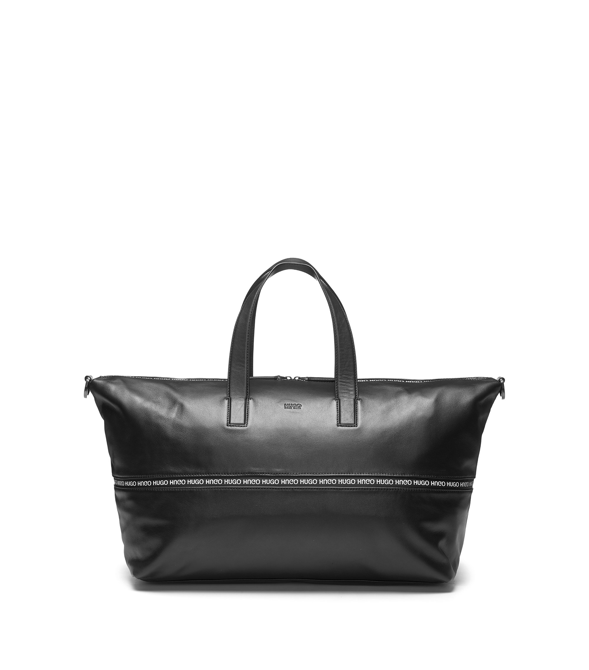 Expandable leather holdall with logo-trimmed zipper, Black