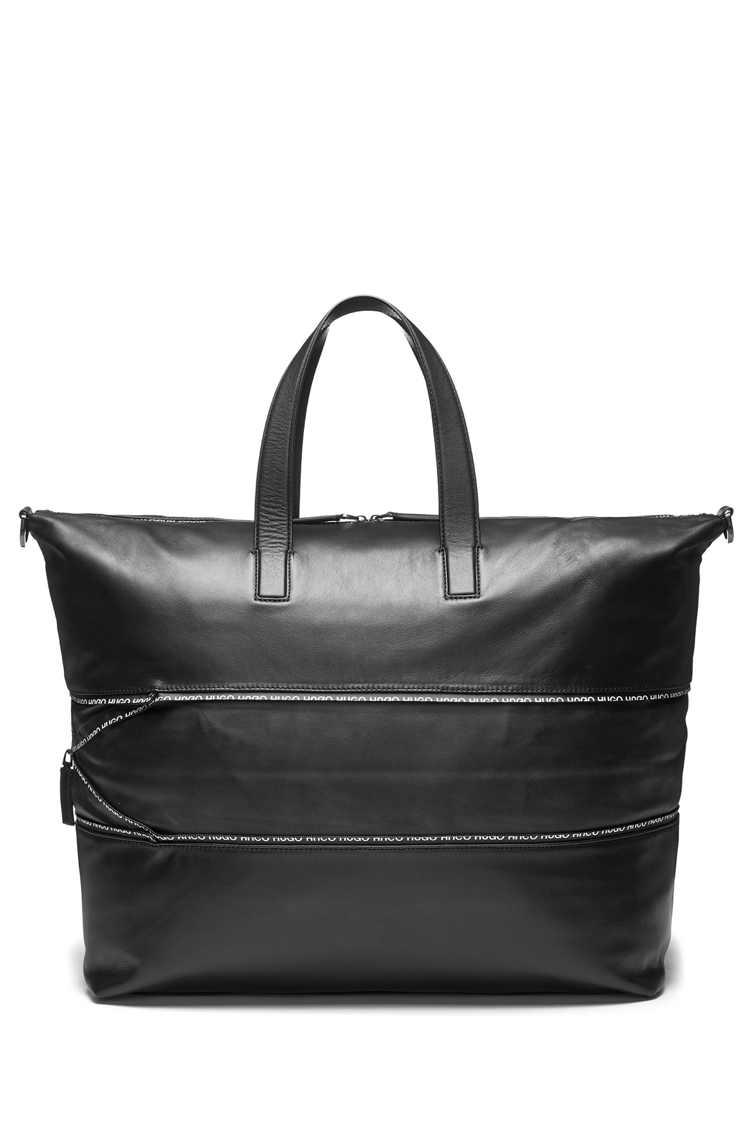 Expandable leather holdall with logo-trimmed zipper