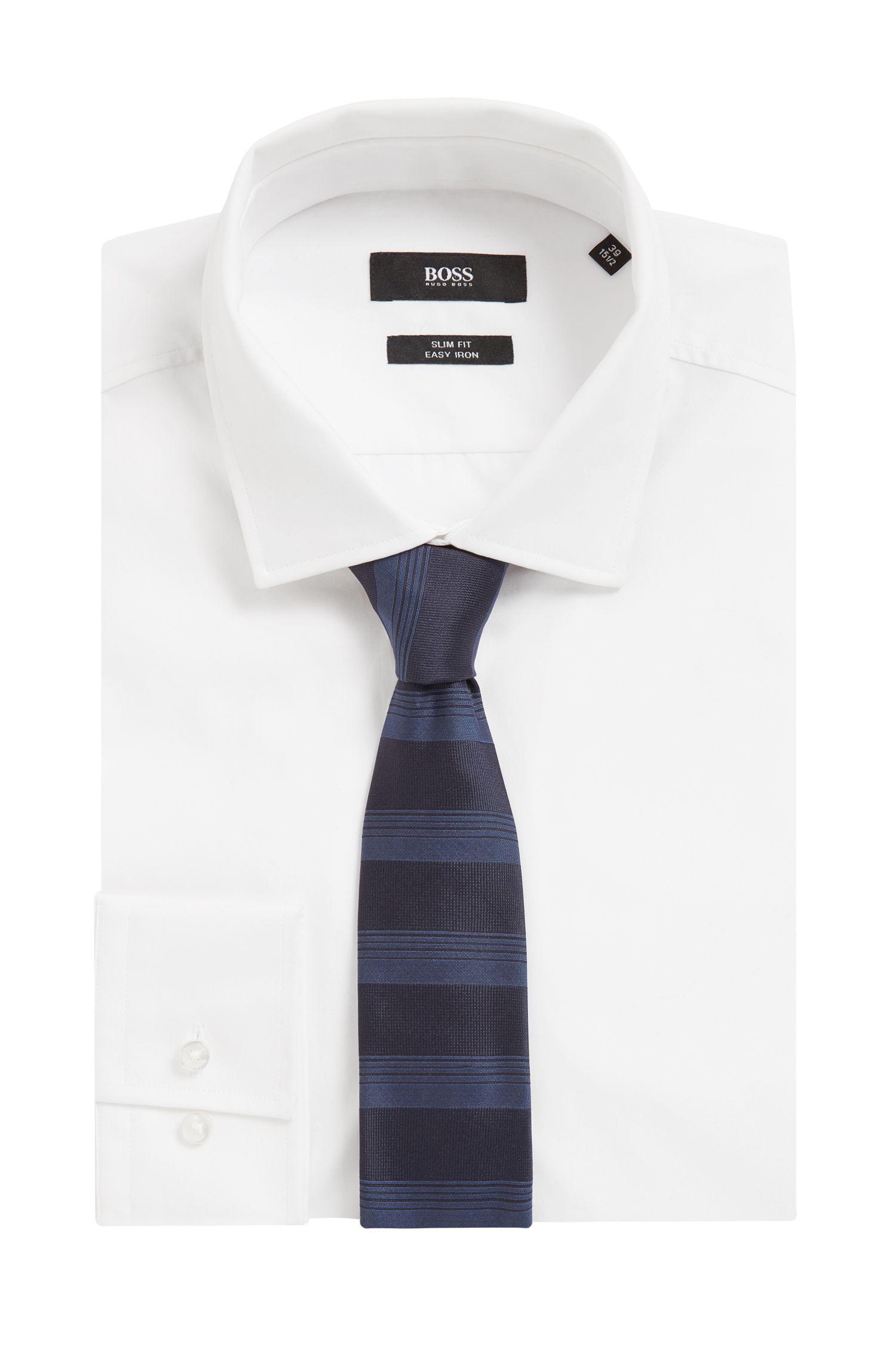 Corbata elaborada a mano en jacquard de seda con rayas horizontales