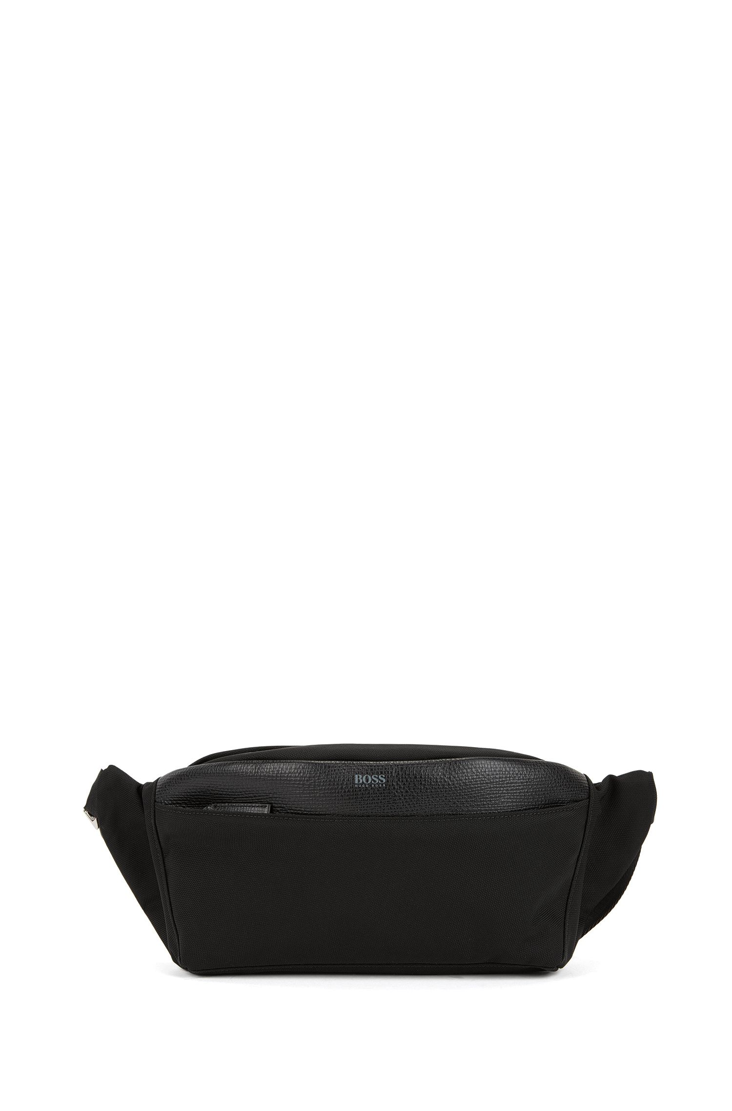 Bumbag in structured nylon with Italian-calf-leather trims, Black