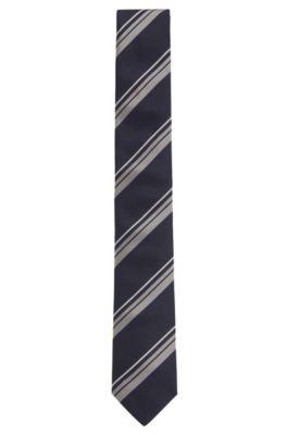 Cravate en jacquard de soie à rayures en diagonale, confectionnée à la main, Bleu