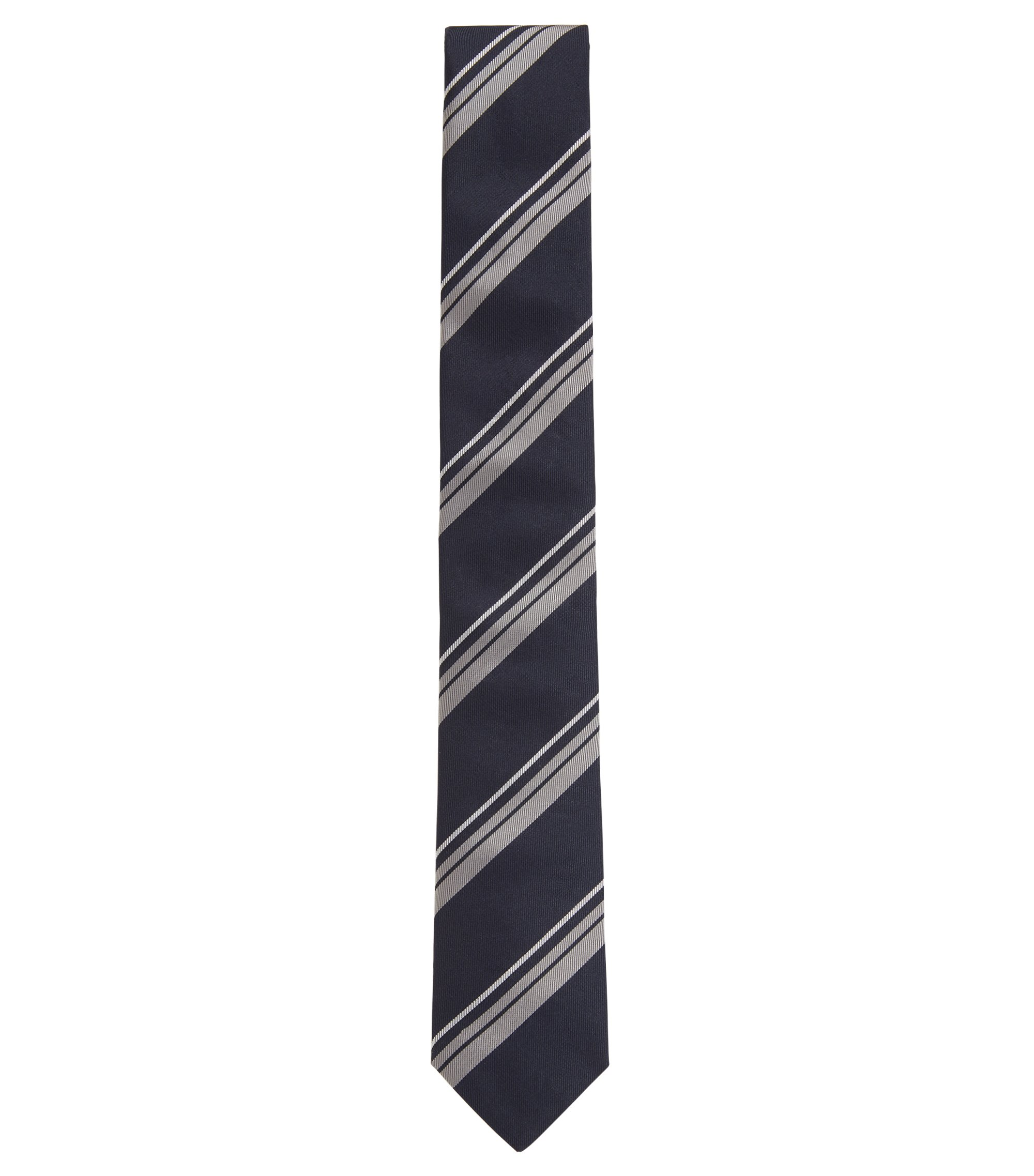 Handmade diagonal stripe tie in silk jacquard, Blue
