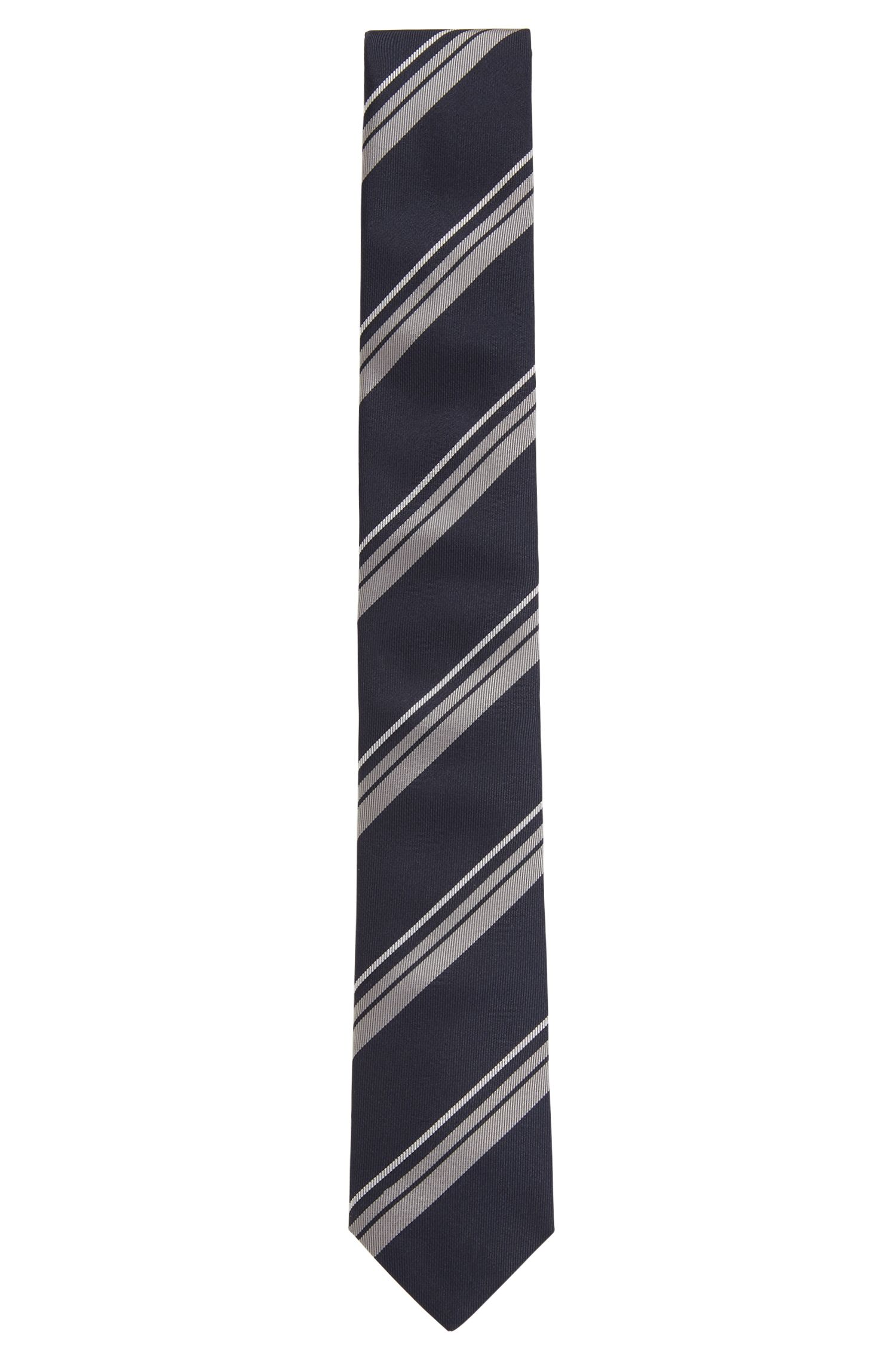 Diagonal-striped tie in silk jacquard HUGO BOSS