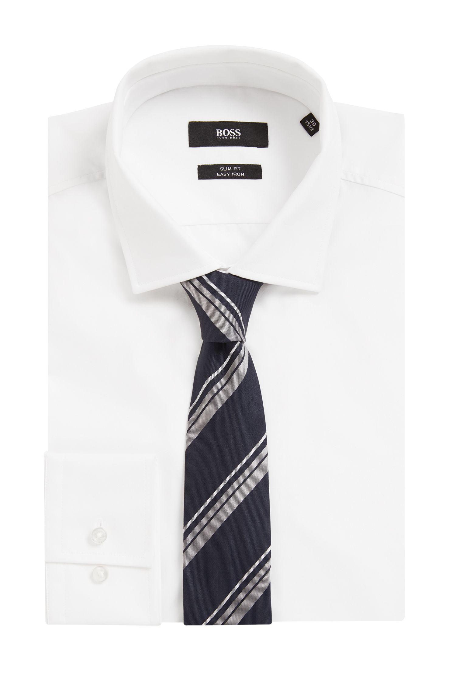 Handmade diagonal stripe tie in silk jacquard