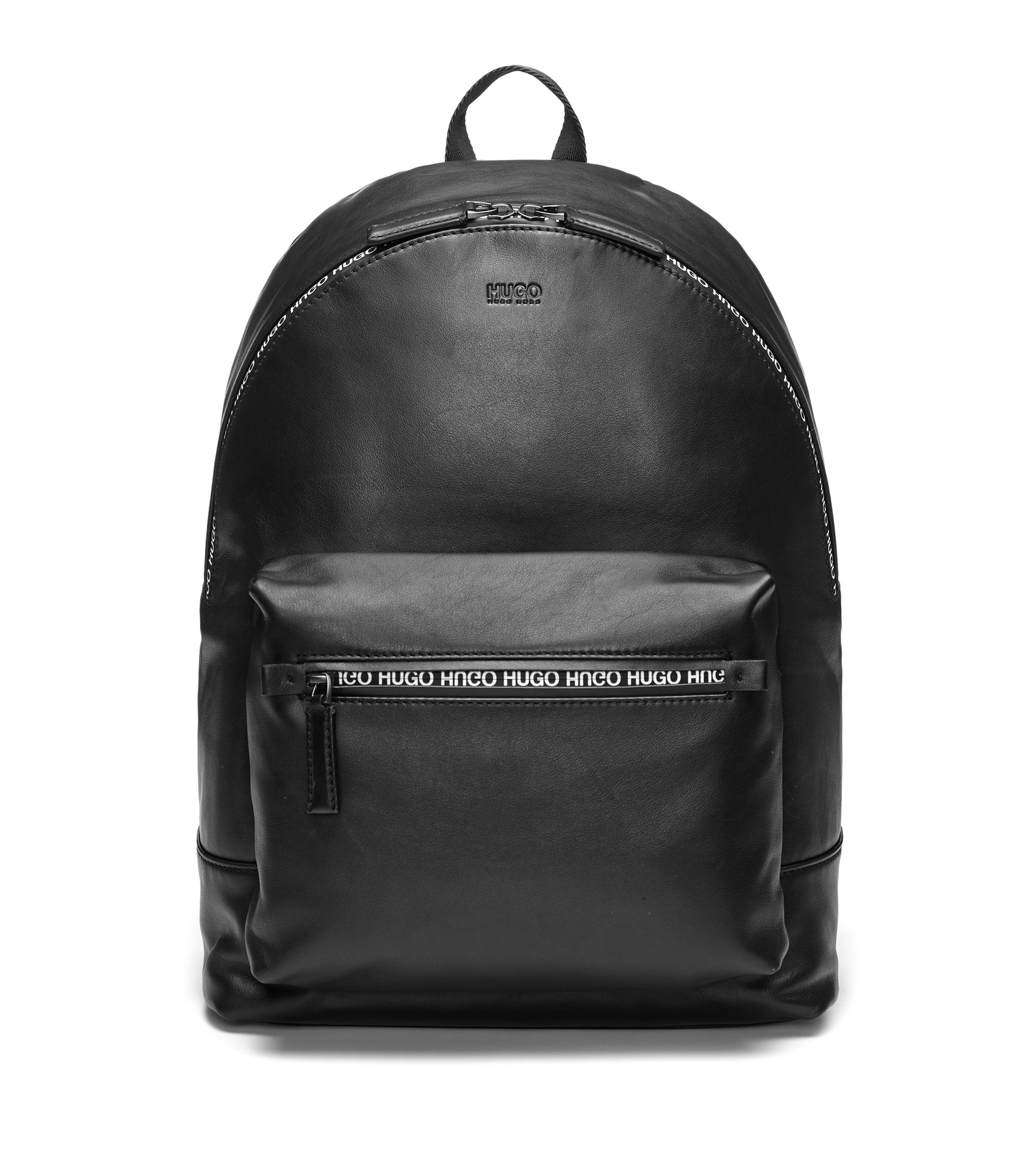 Rucksack aus Glattleder mit wasserfestem Print-Reißverschluss, Schwarz