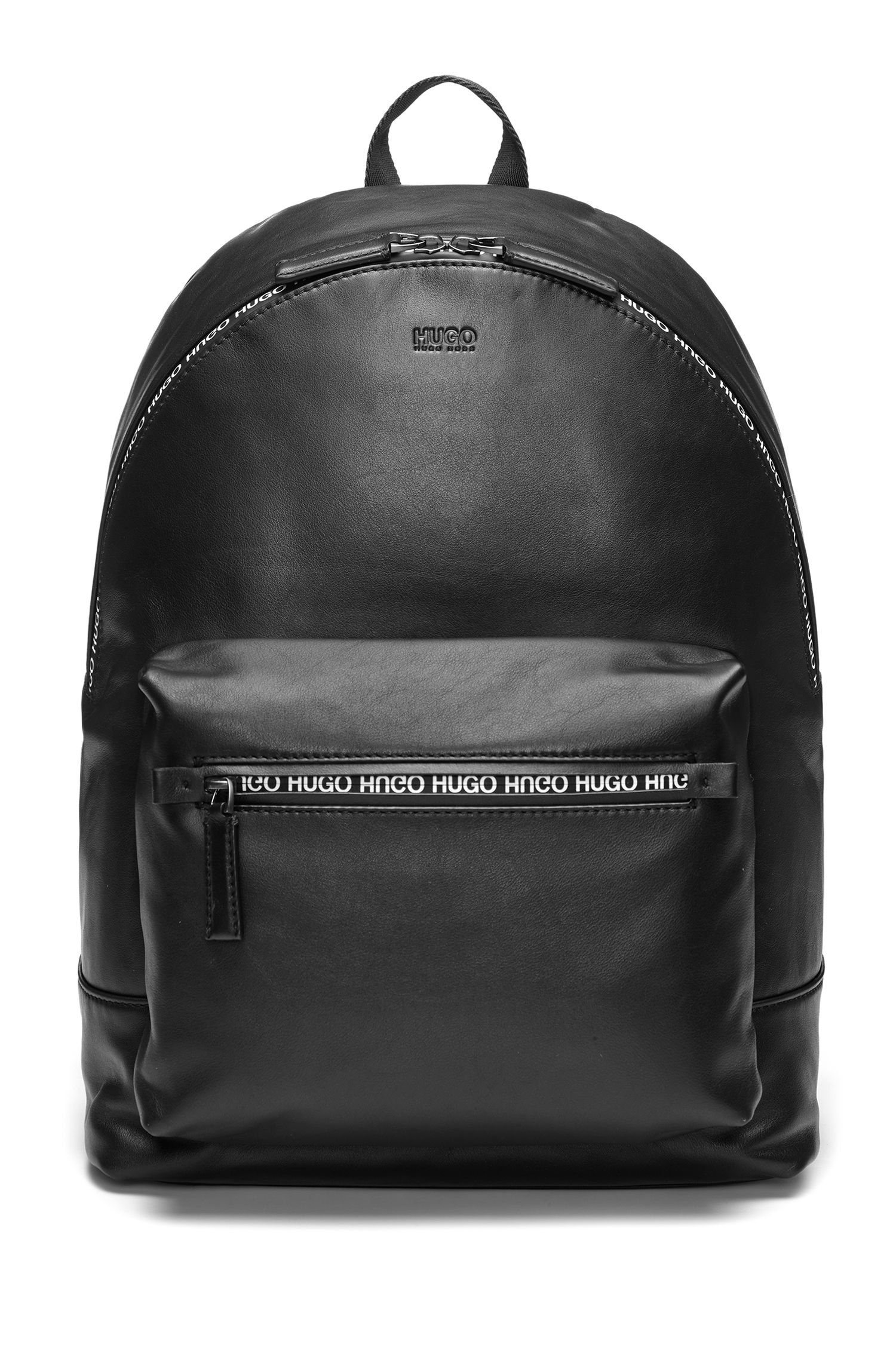 Smooth-leather backpack with printed waterproof zip, Black