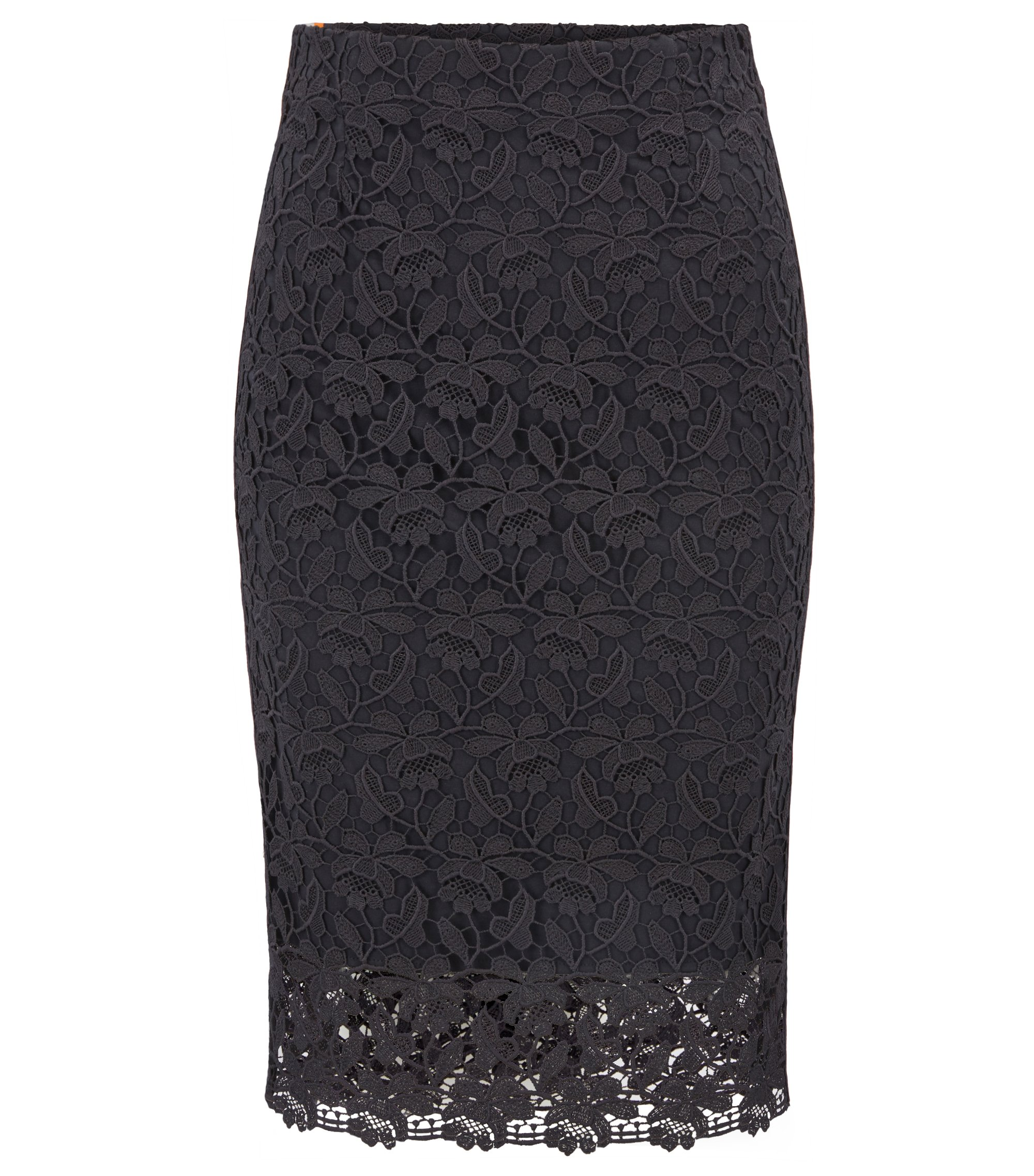 Jersey-lined lace pencil skirt with striped tape, Dark Blue
