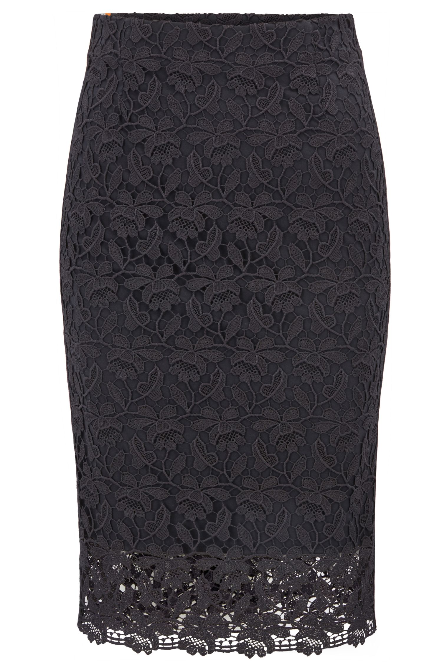 Jersey-lined lace pencil skirt with striped tape