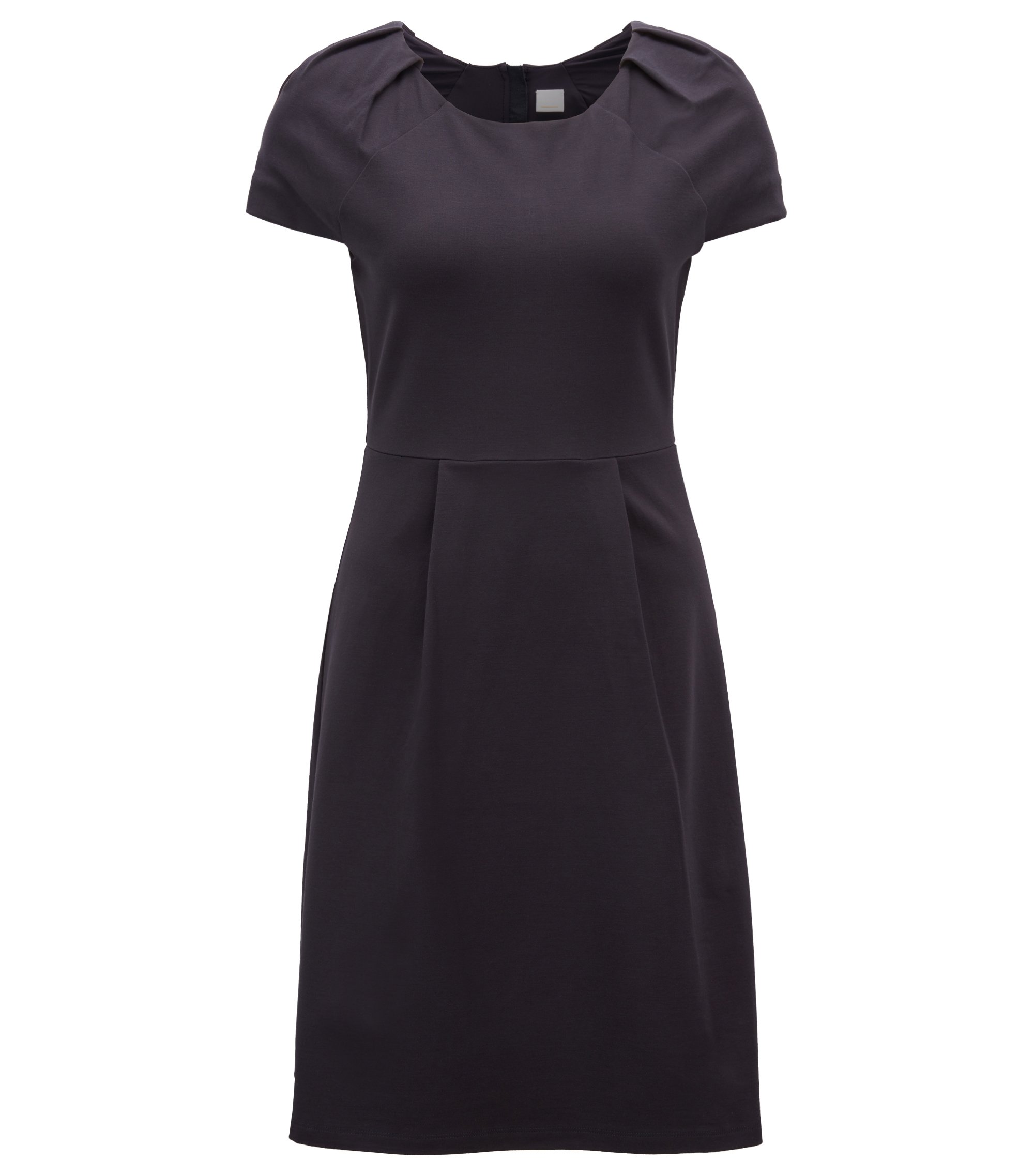 Tailored jersey dress with plissé-tape trim, Dark Blue