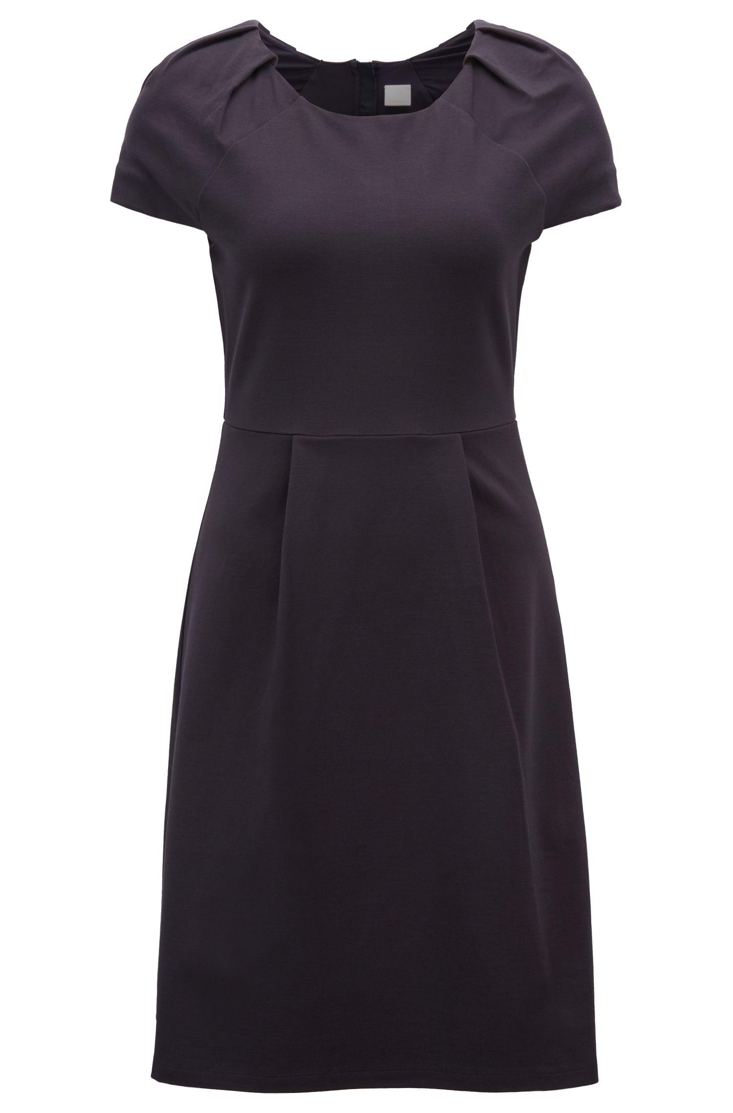 Tailliertes Kleid aus Interlock-Jersey mit Plissee-Detail, Dunkelblau
