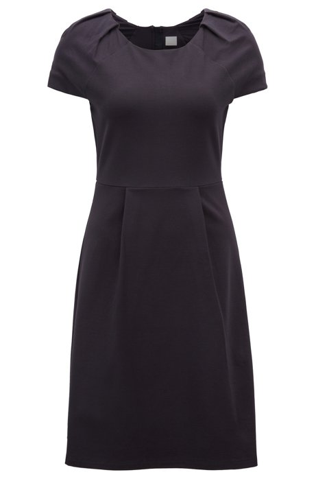 Tailored jersey dress with pliss CwF0z8