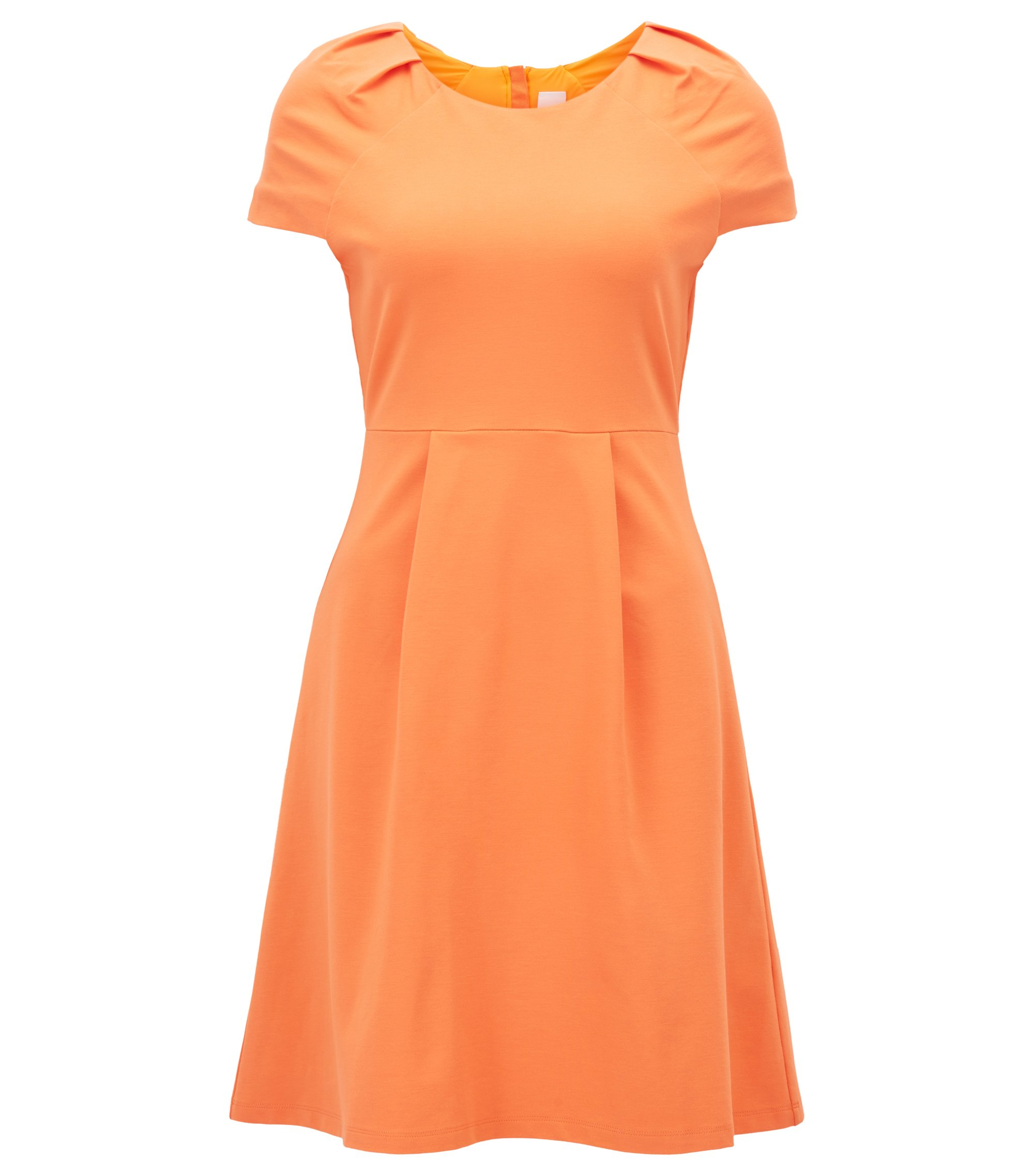 Tailliertes Kleid aus Interlock-Jersey mit Plissee-Detail, Orange
