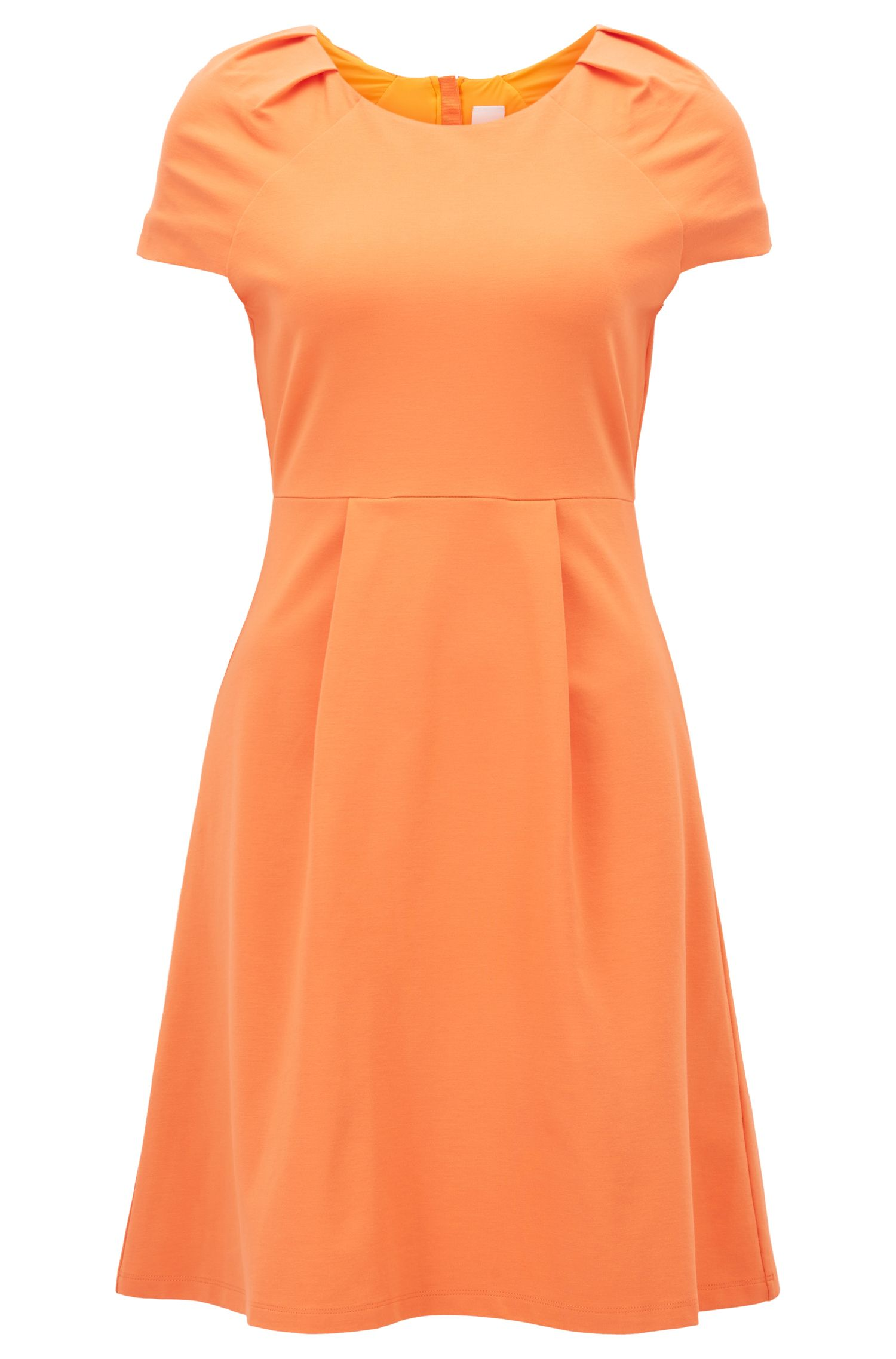 Tailored jersey dress with plissé-tape trim