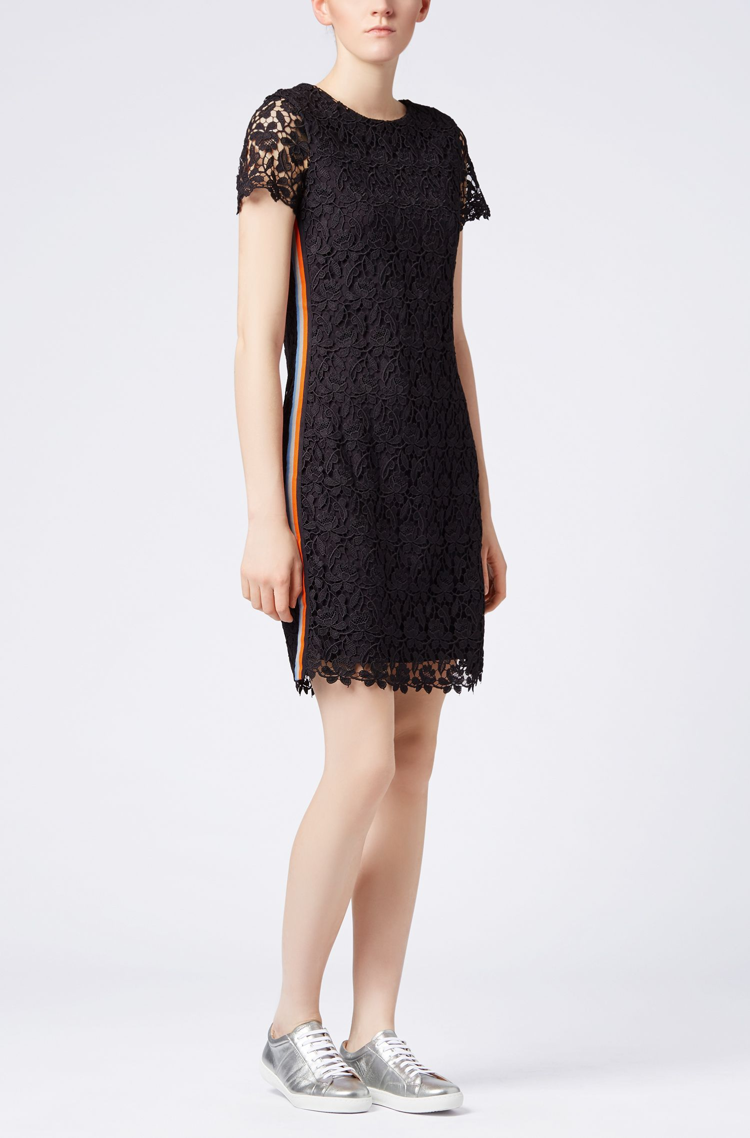 Jersey-lined lace dress with striped tape detailing, Dark Blue