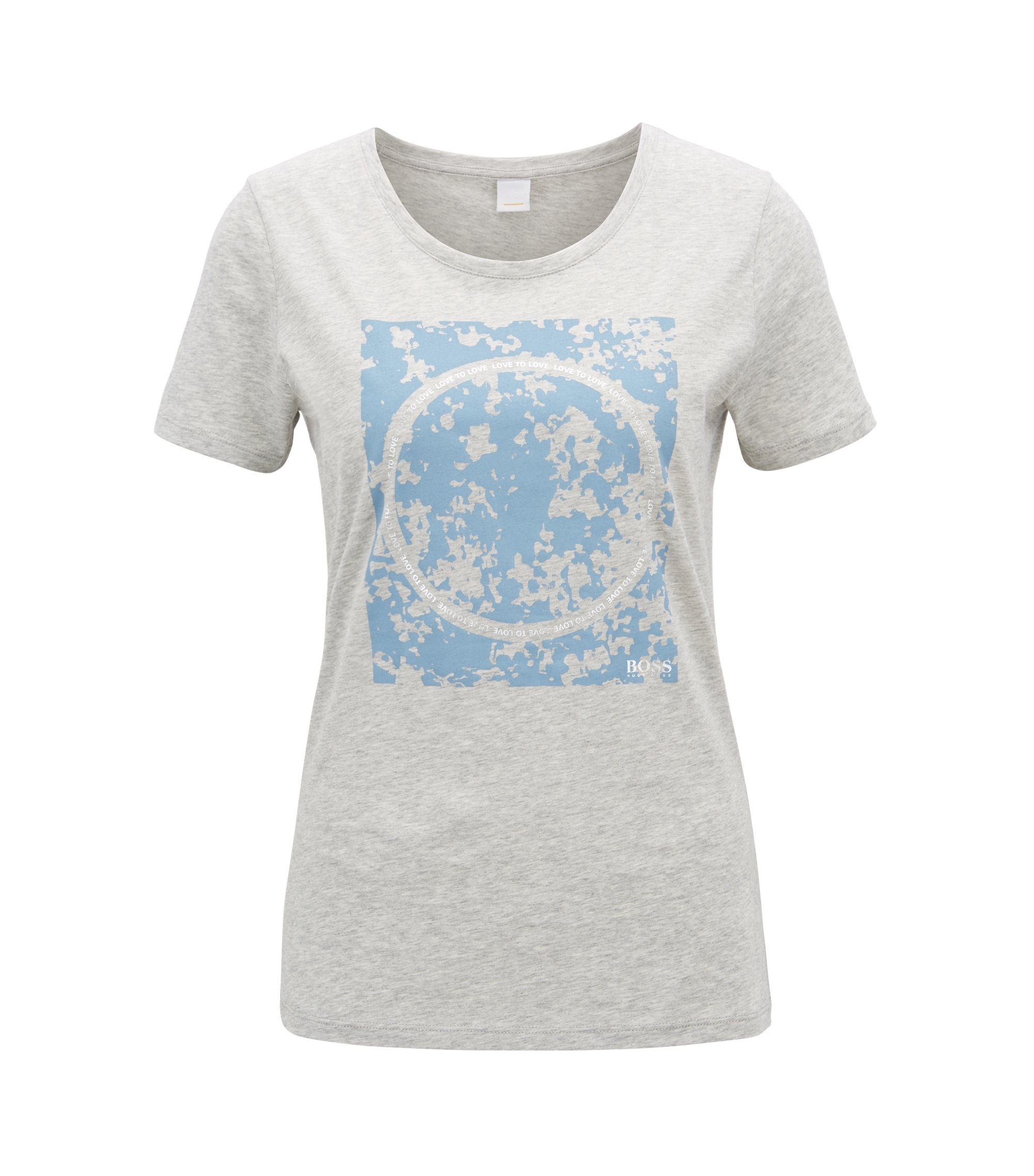 Slim-fit cotton T-shirt with mixed-print graphic, Light Grey