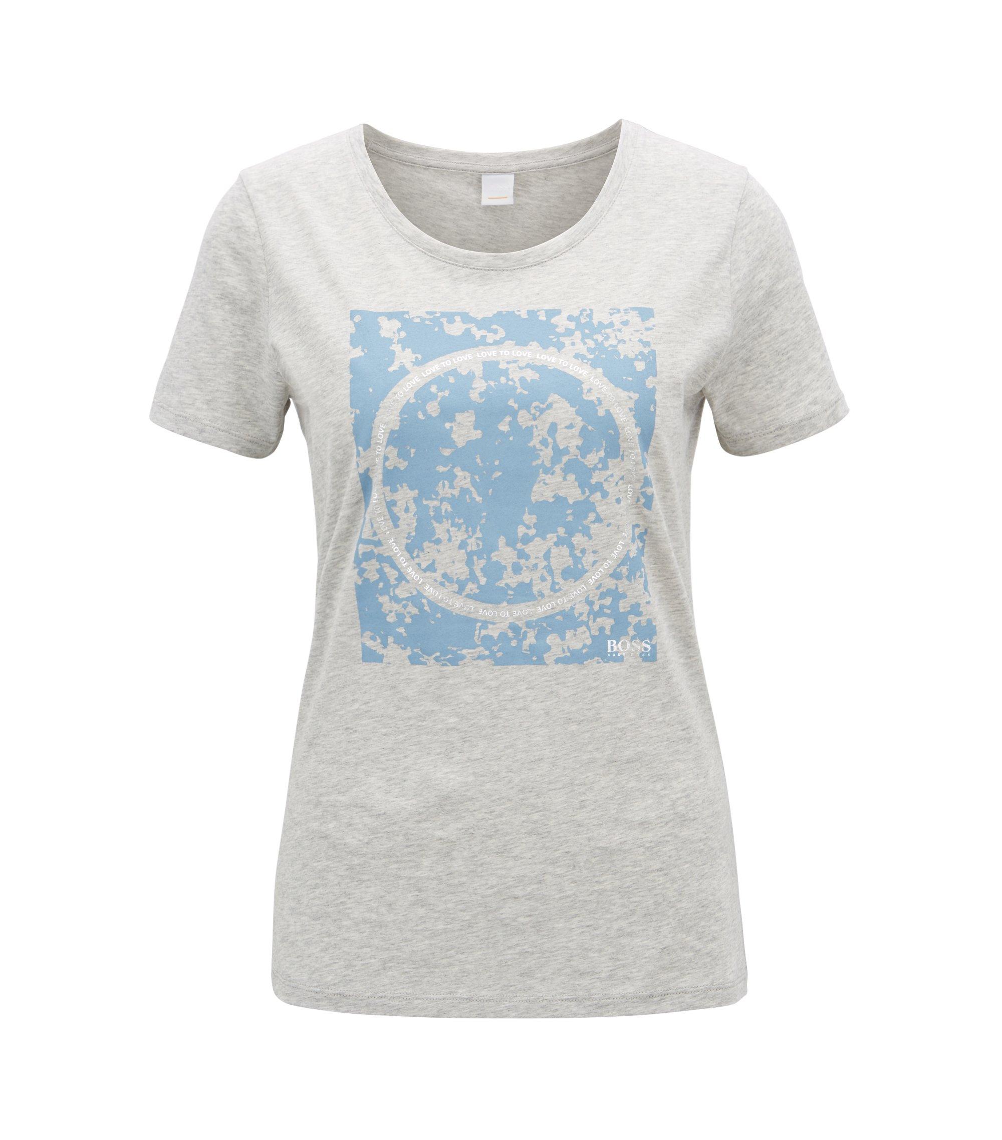 Slim-fit T-shirt van katoen met gemengde grafische print, Lichtgrijs