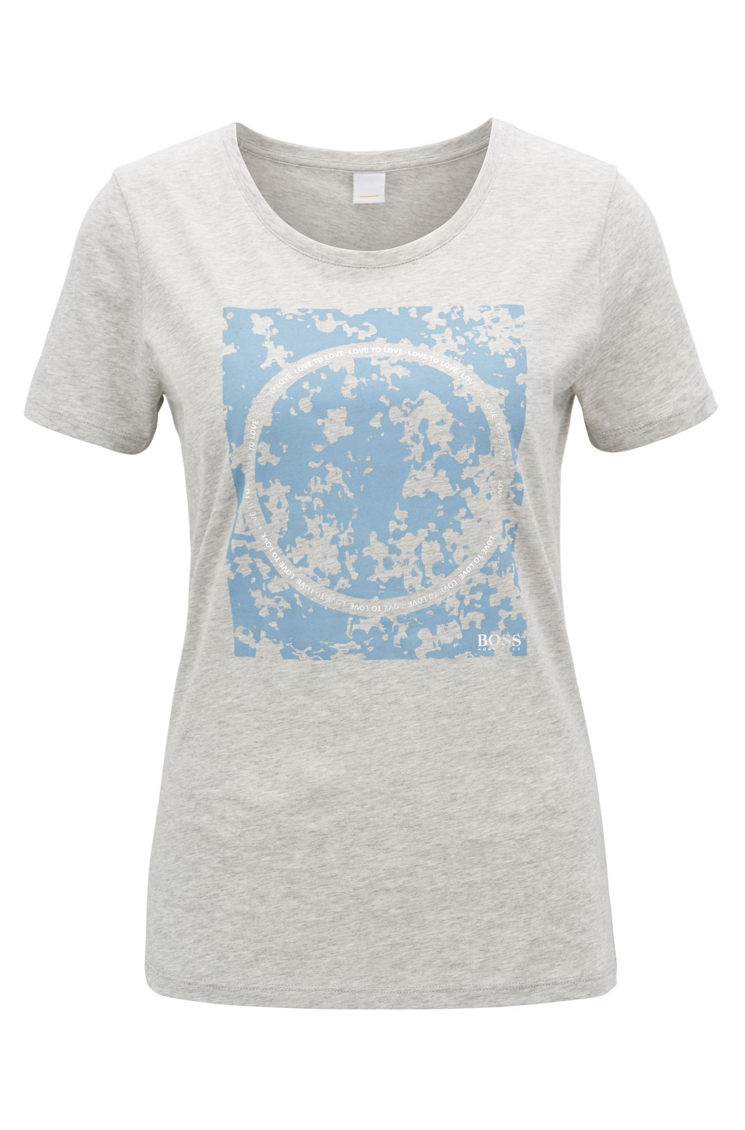Slim-fit cotton T-shirt with mixed-print graphic