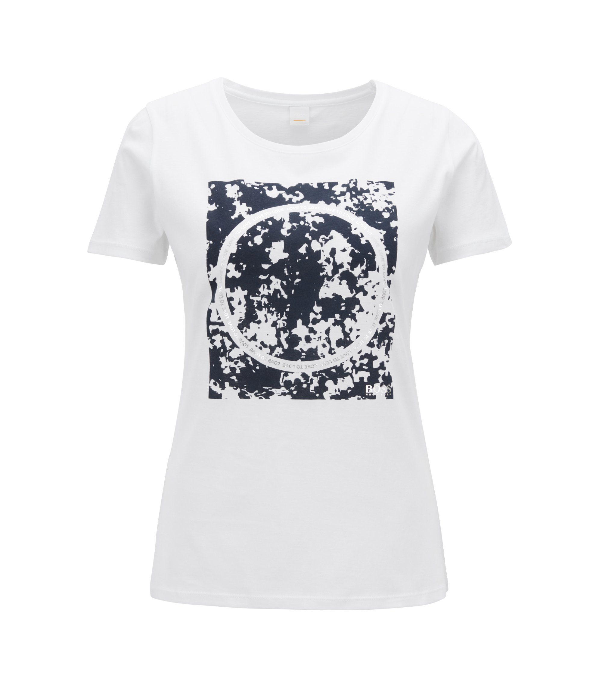 Slim-fit cotton T-shirt with mixed-print graphic, White