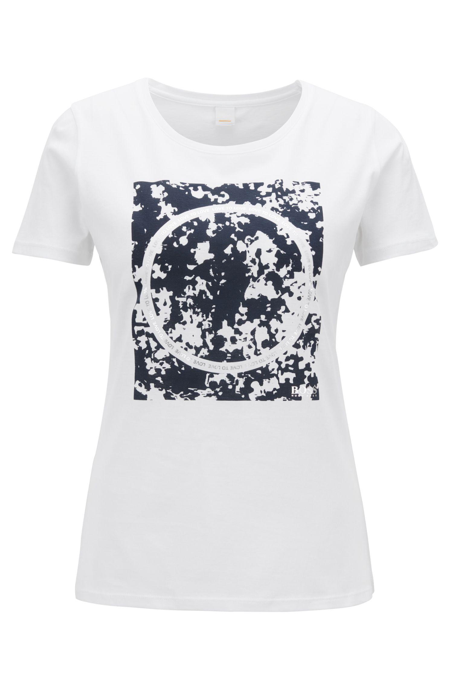 T-shirt slim fit in cotone con stampa grafica mista, Bianco