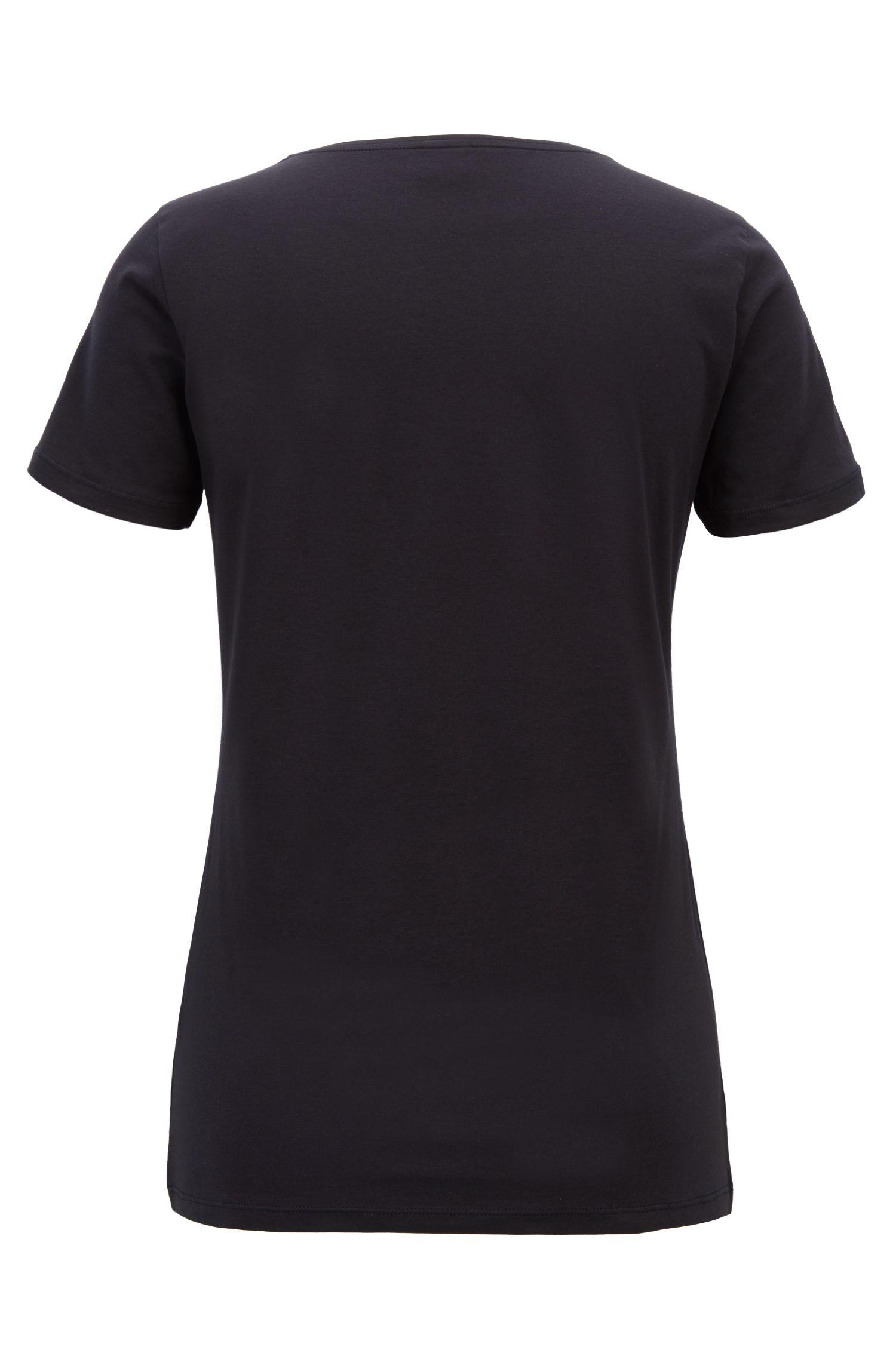 T-shirt slim fit in cotone con stampa grafica mista, Blue Scuro
