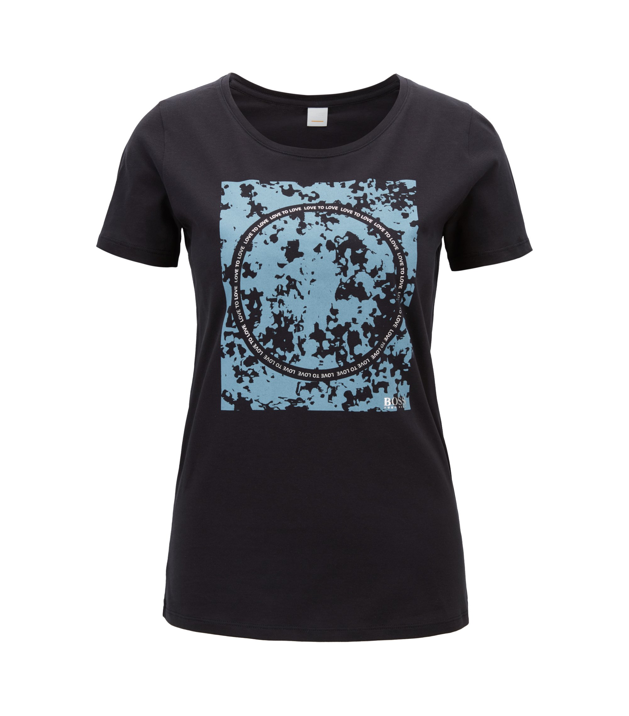 Slim-fit cotton T-shirt with mixed-print graphic, Dark Blue
