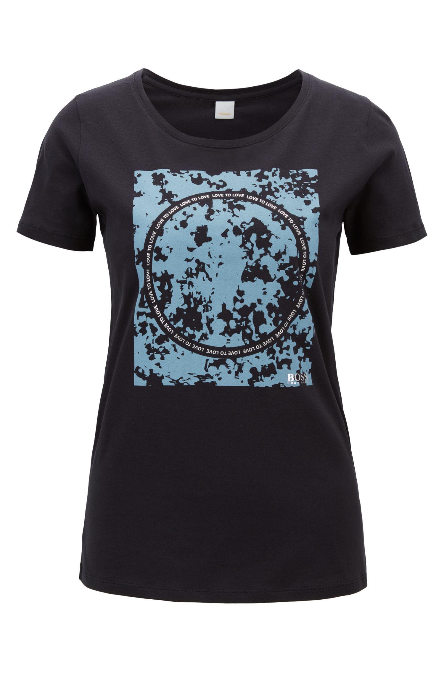 T-shirt Slim Fit en coton à motifs mélangés imprimés, Bleu foncé