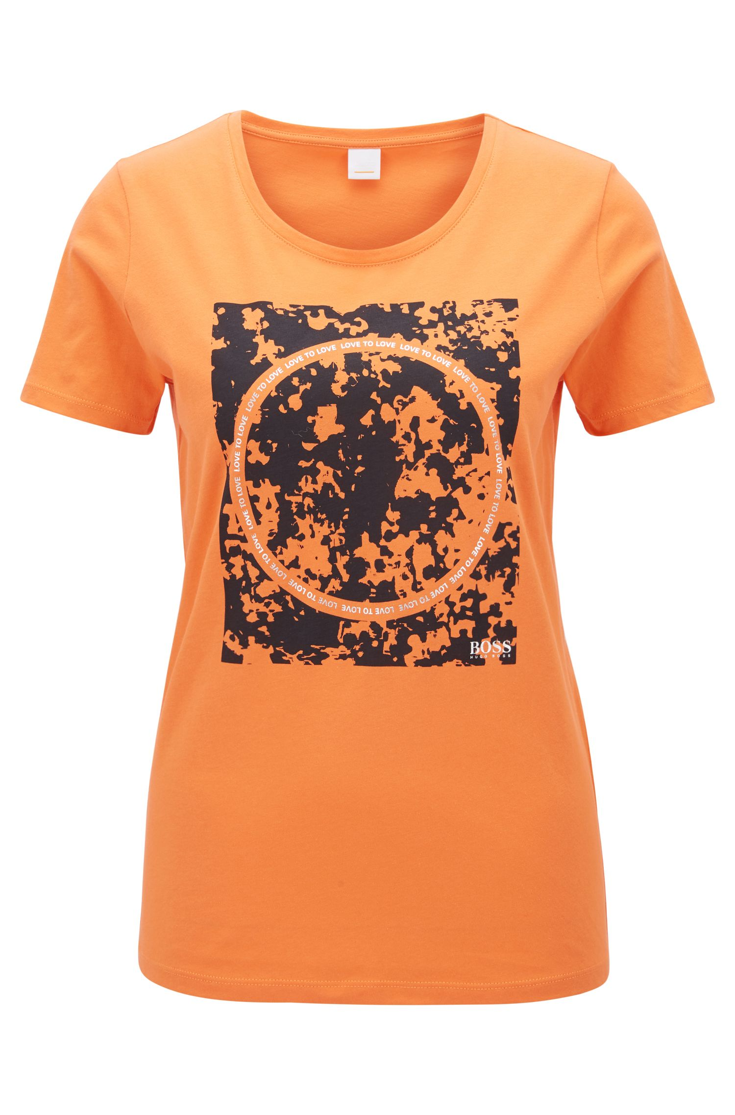 Slim-fit cotton T-shirt with mixed-print graphic, Orange