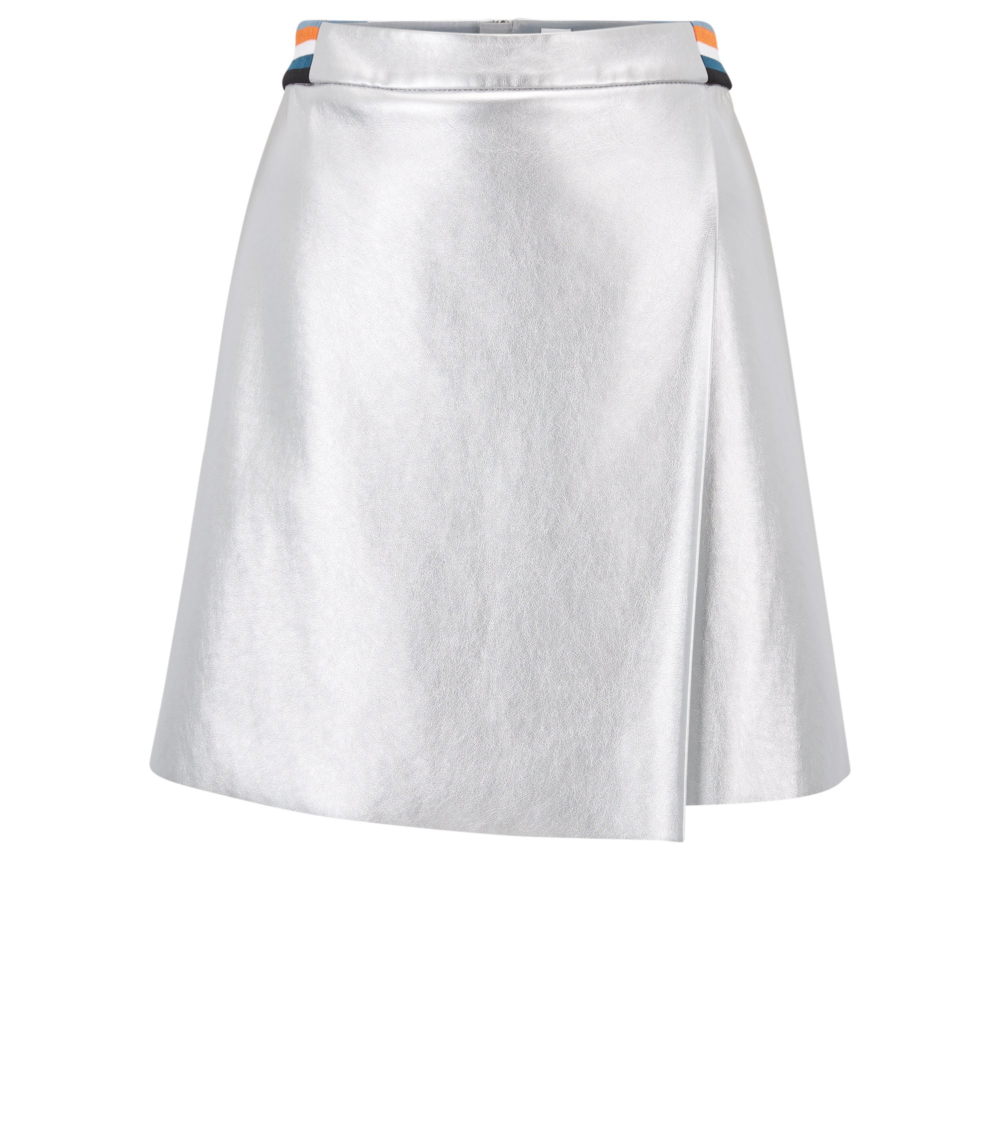 A-line skirt in metallic faux leather with striped waistband, Silver