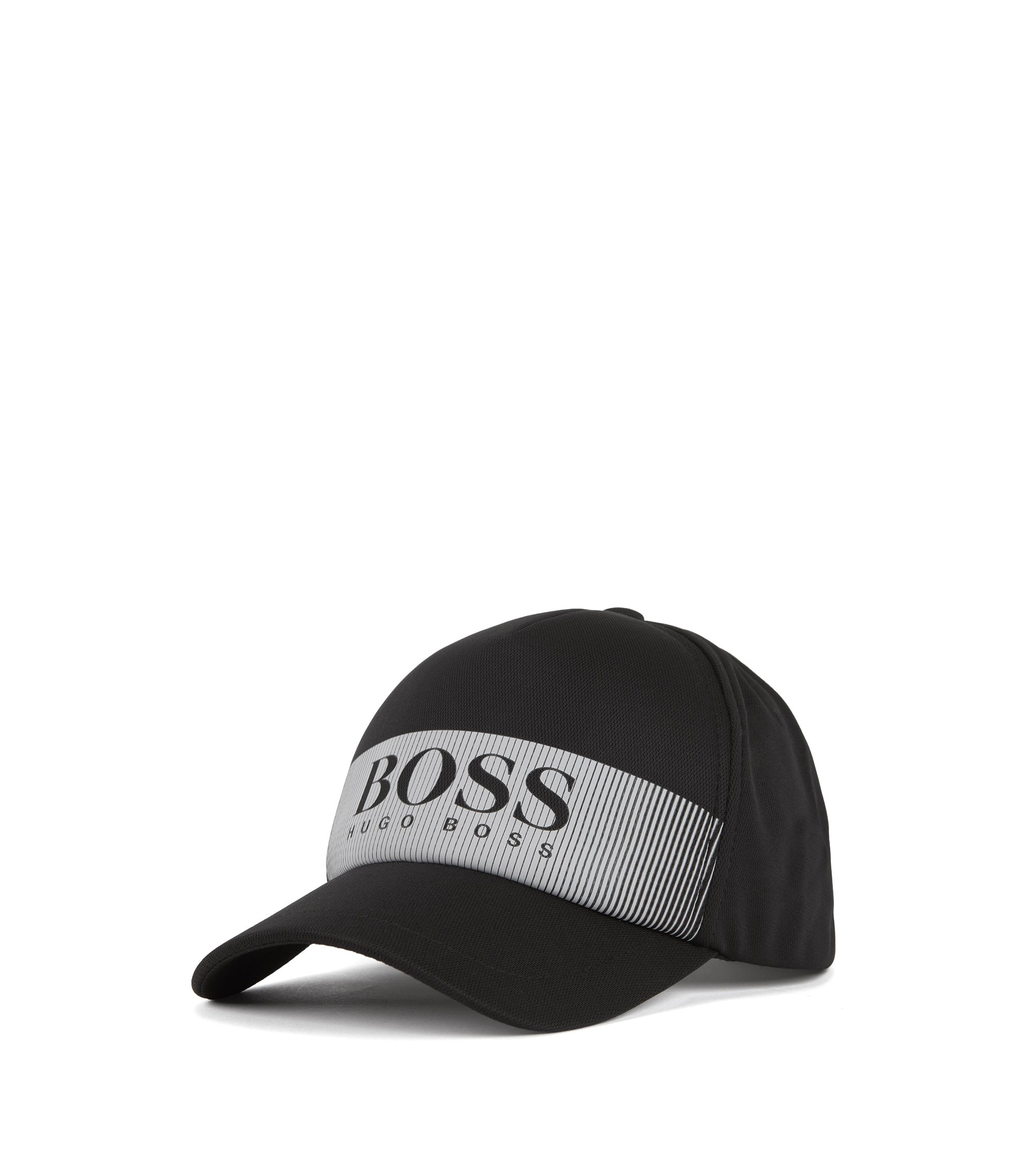 Logo cap in technical mesh-structured stretch fabric, Black