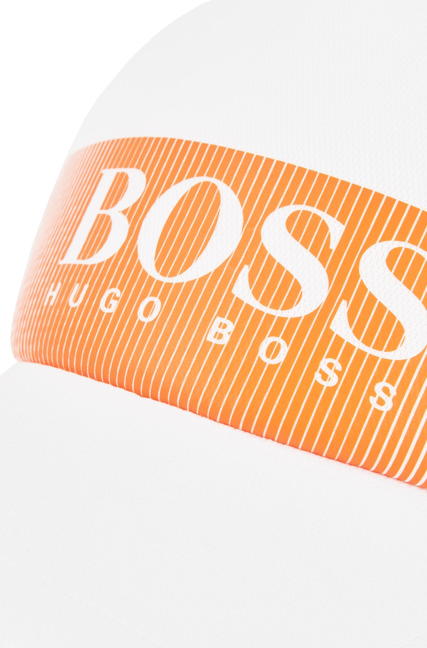 Logo cap in technical mesh-structured stretch fabric, White