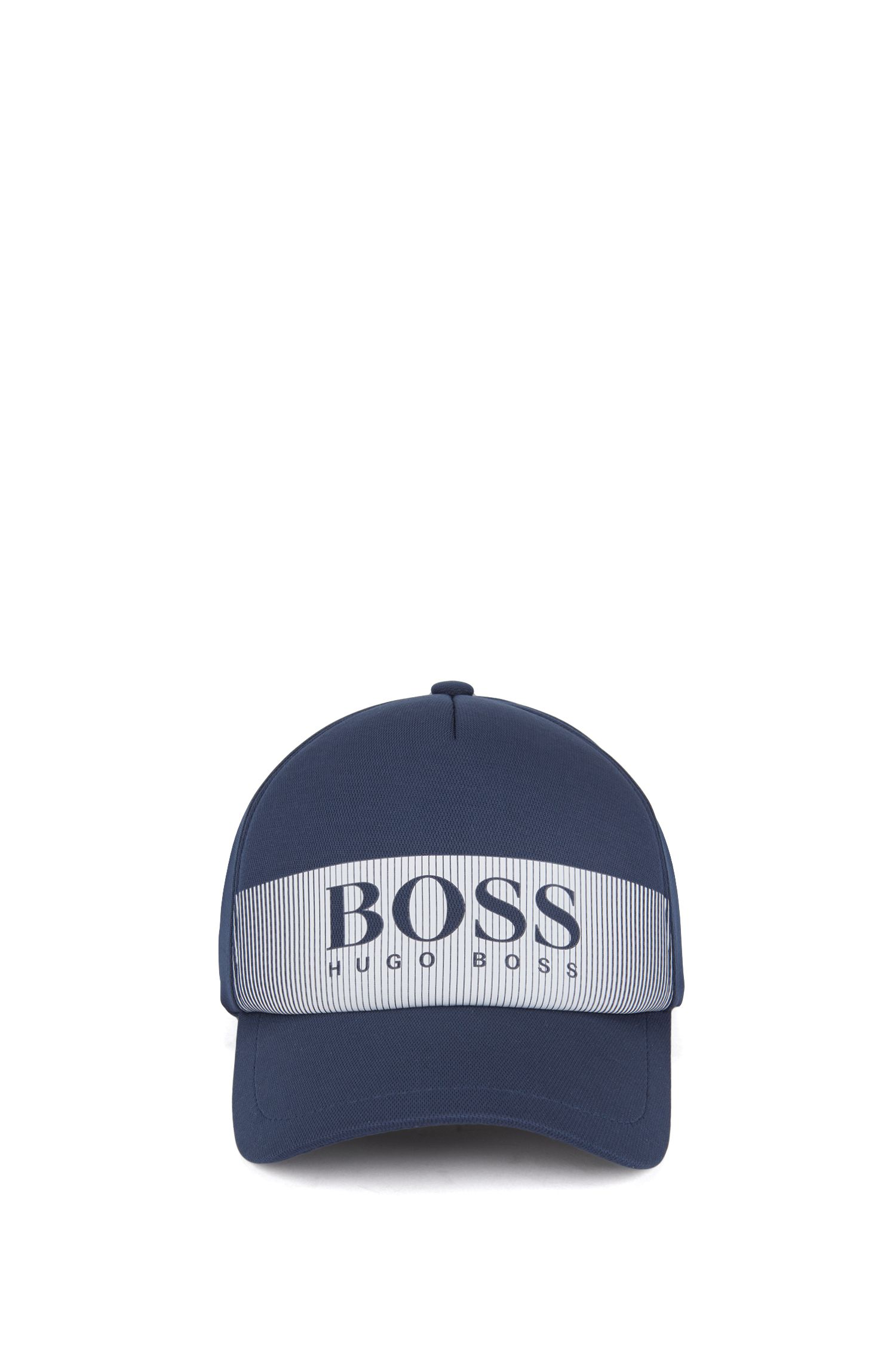 Logo cap in technical mesh-structured stretch fabric, Dark Blue