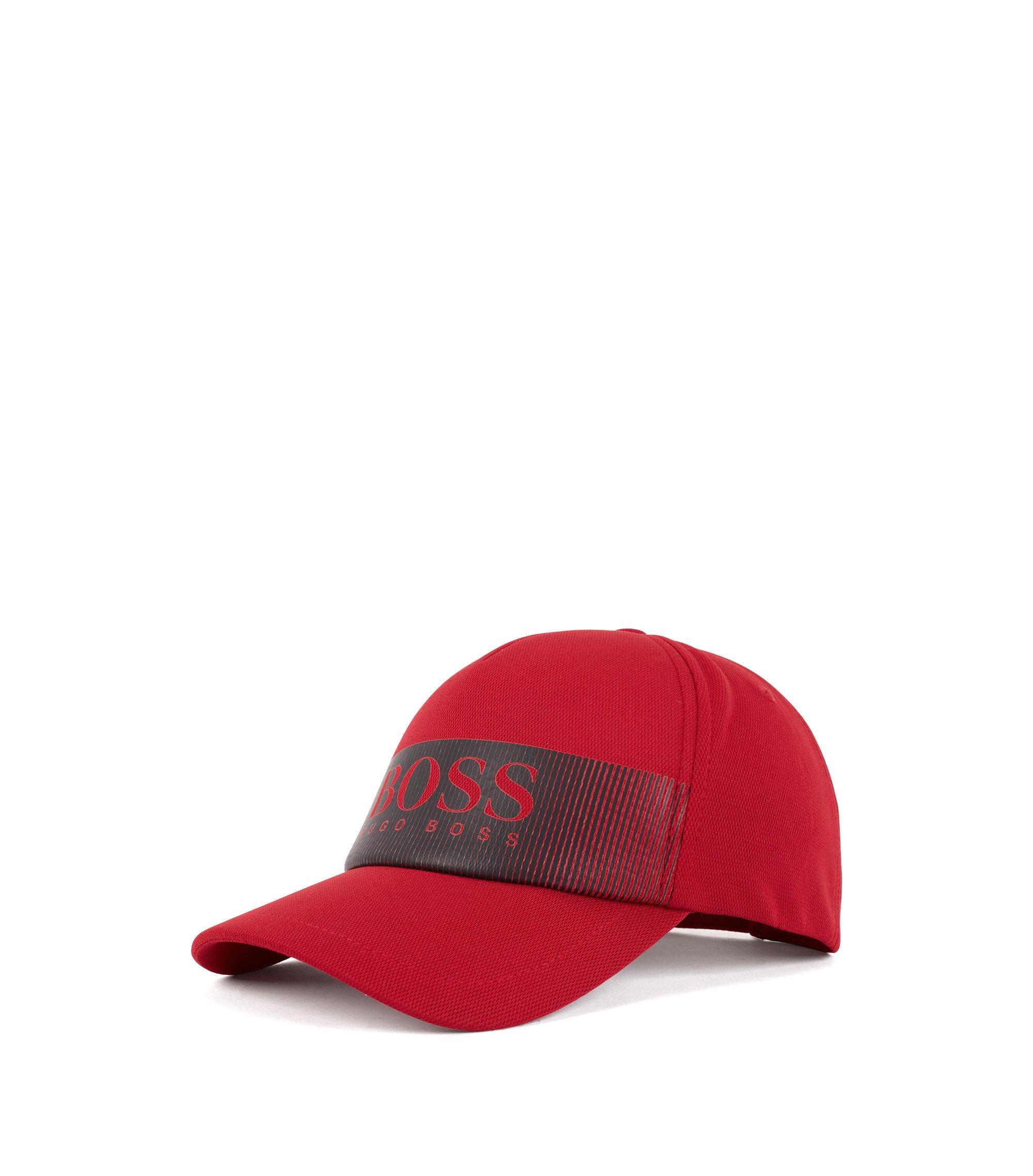 Casquette à logo en tissu stretch à mesh structuré technique, Rouge