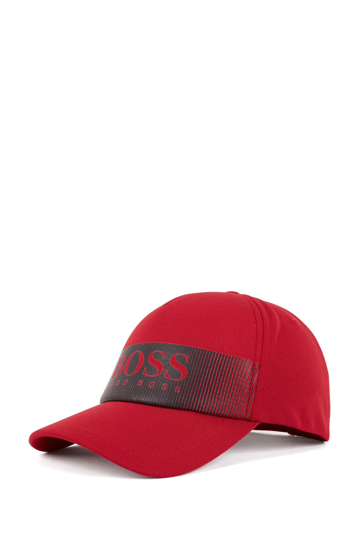 Logo cap in technical mesh-structured stretch fabric, Red