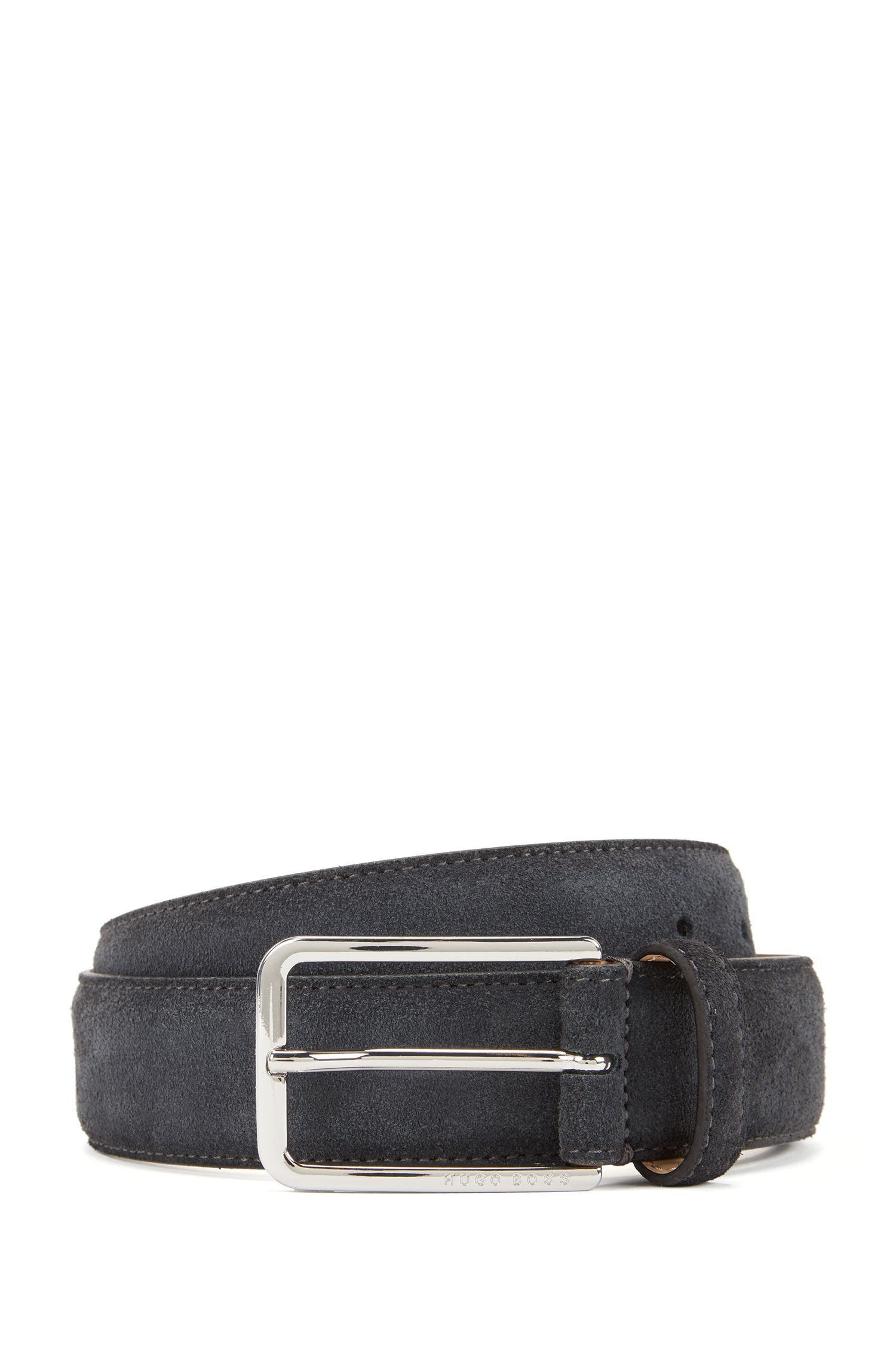 Suede belt with rounded hardware, Dark Grey