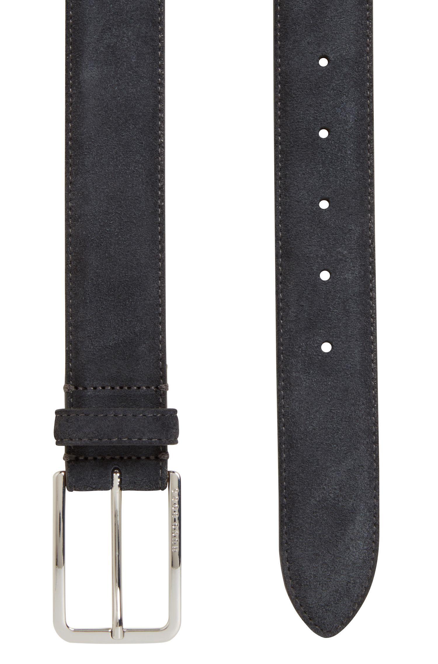 Cintura in pelle scamosciata con fibbia in metallo arrotondata, Grigio scuro