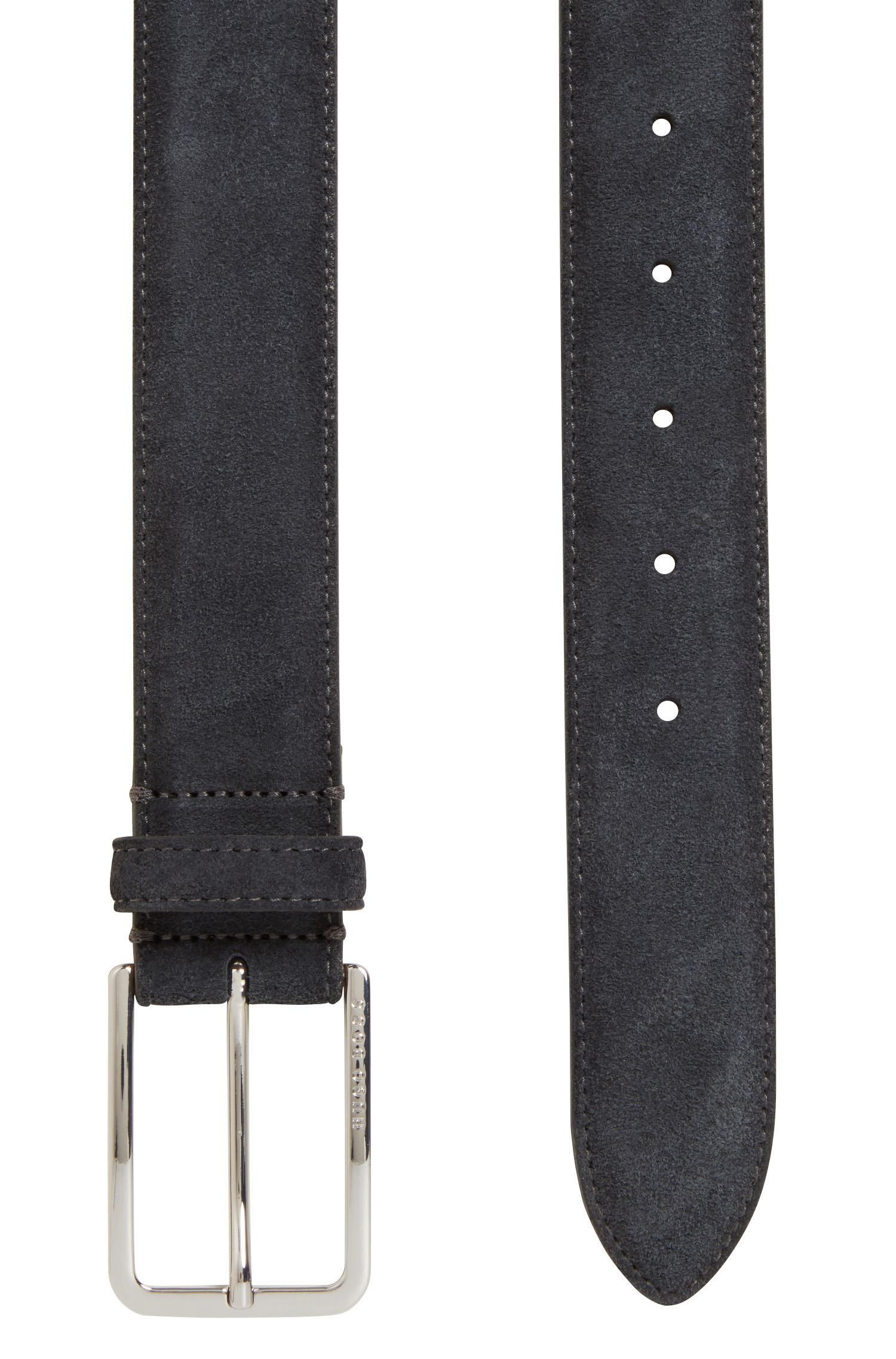 Suede belt with rounded hardware, Dark Grey
