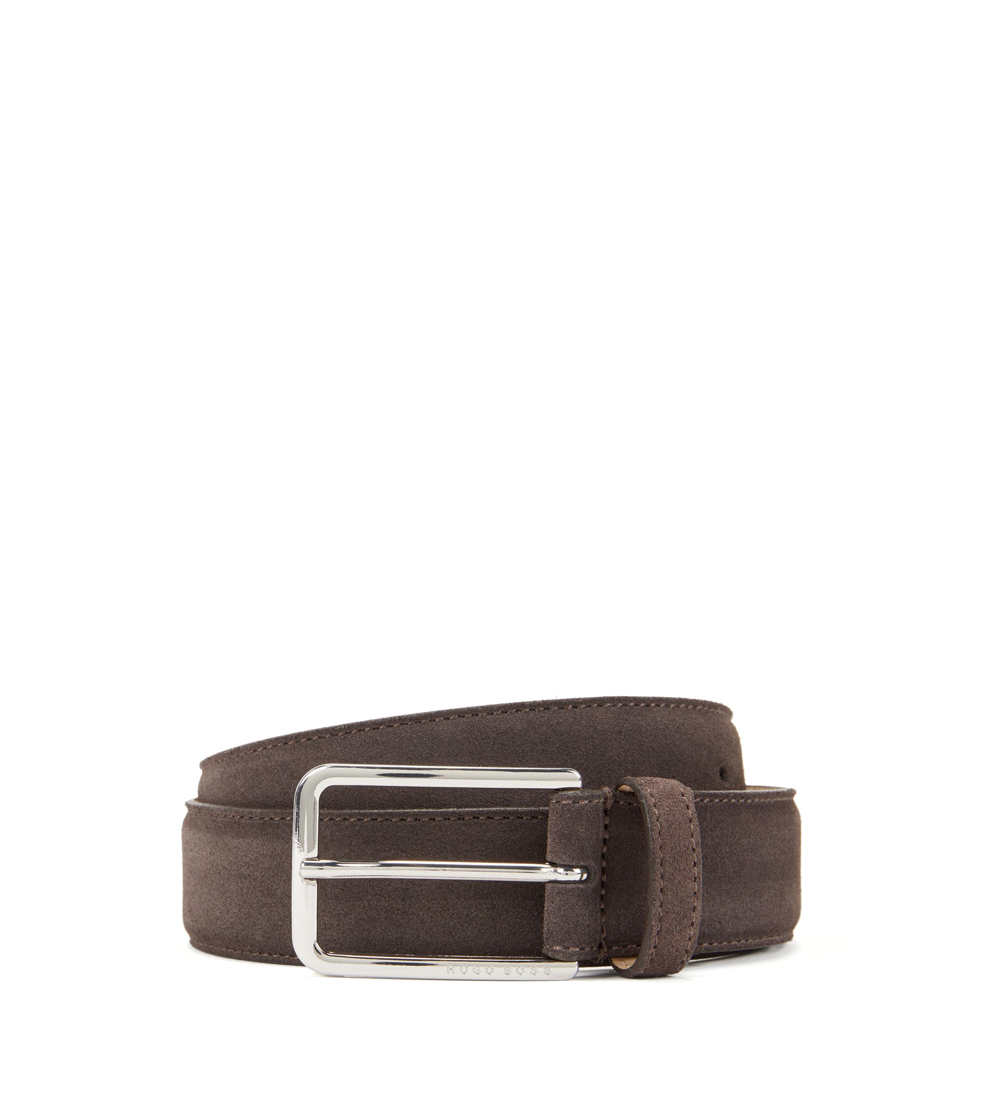 Suede belt with rounded hardware, Dark Brown