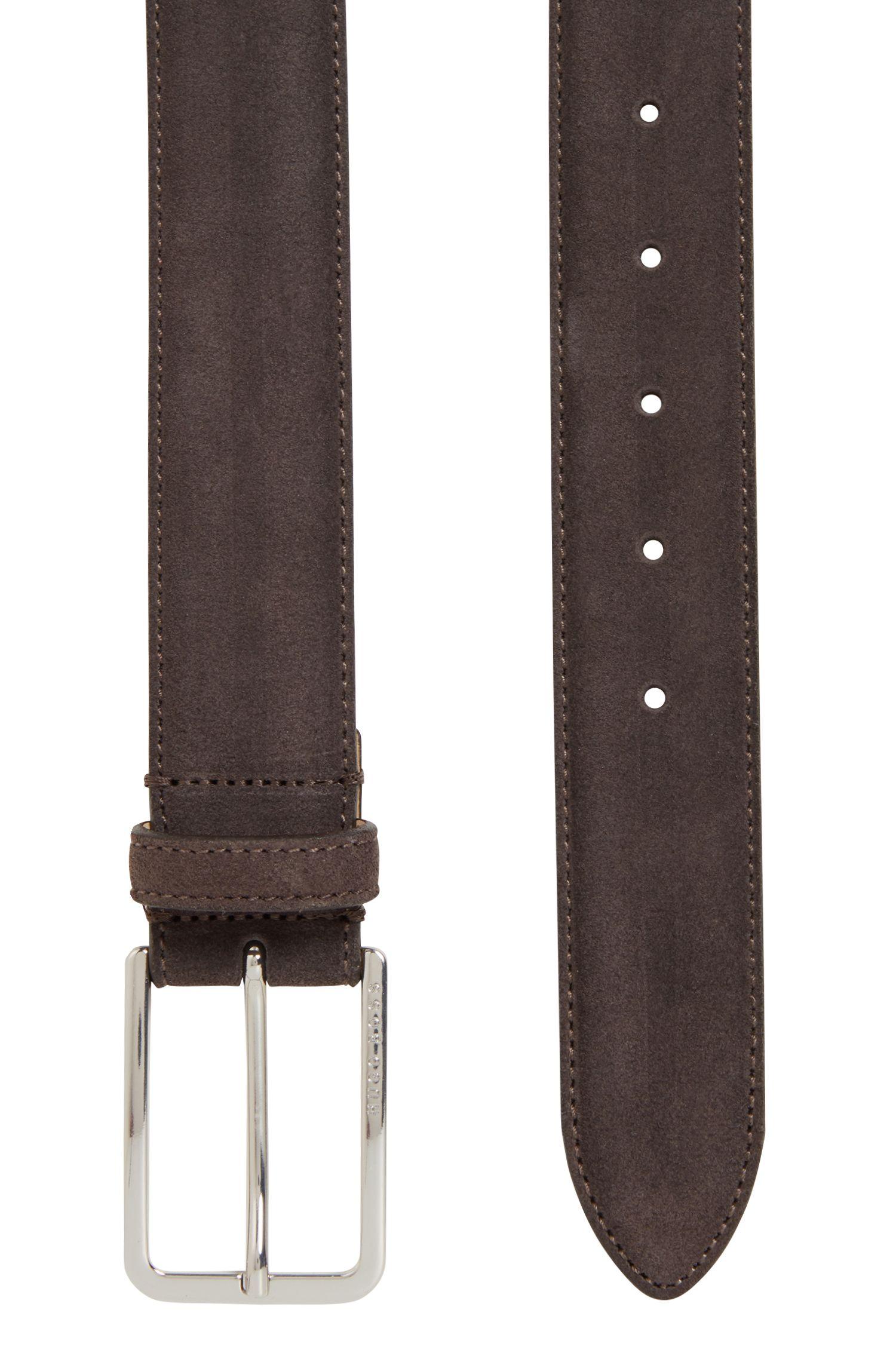 Cinturón de ante con herraje redondeado