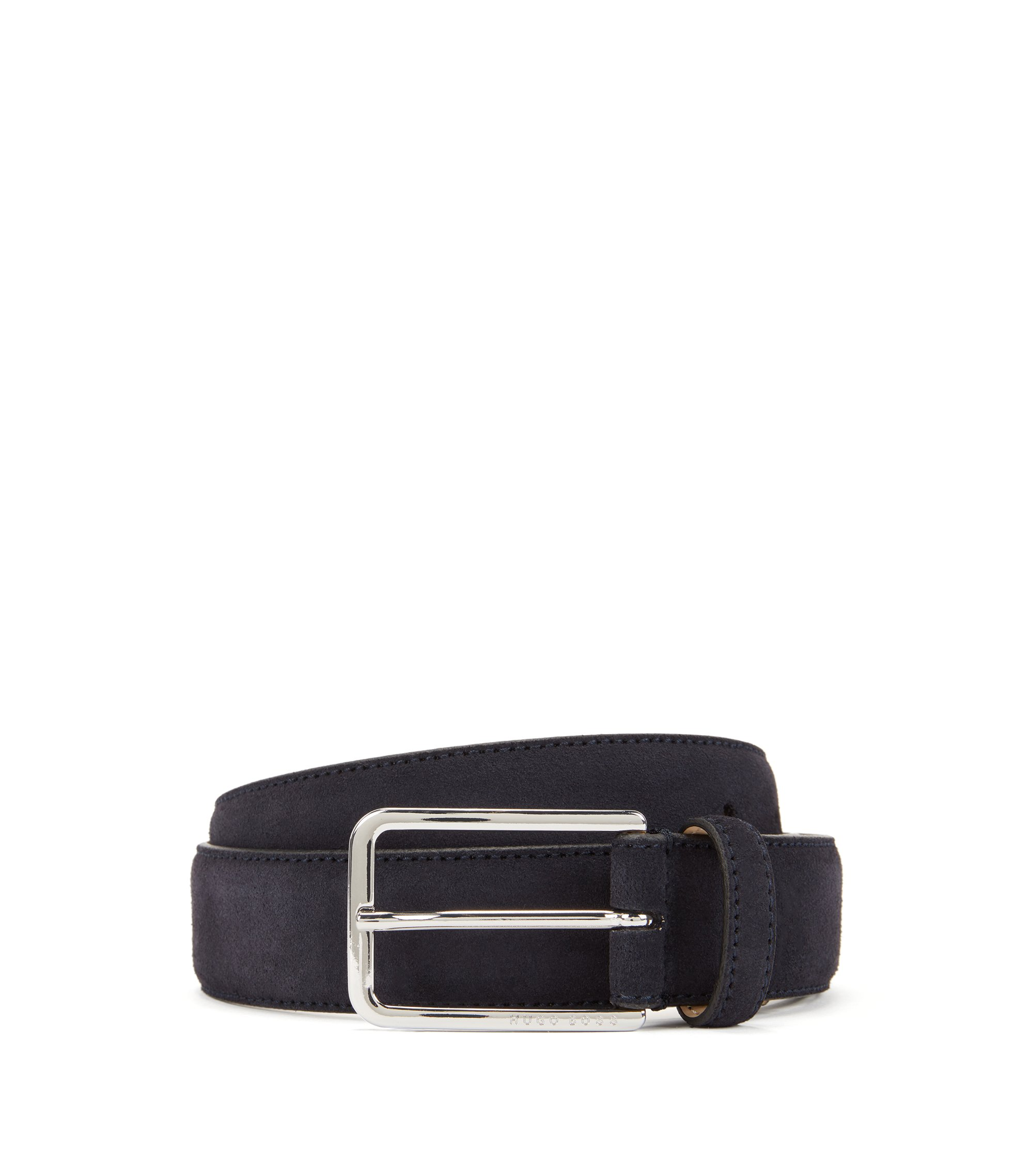 Suede belt with rounded hardware, Dark Blue
