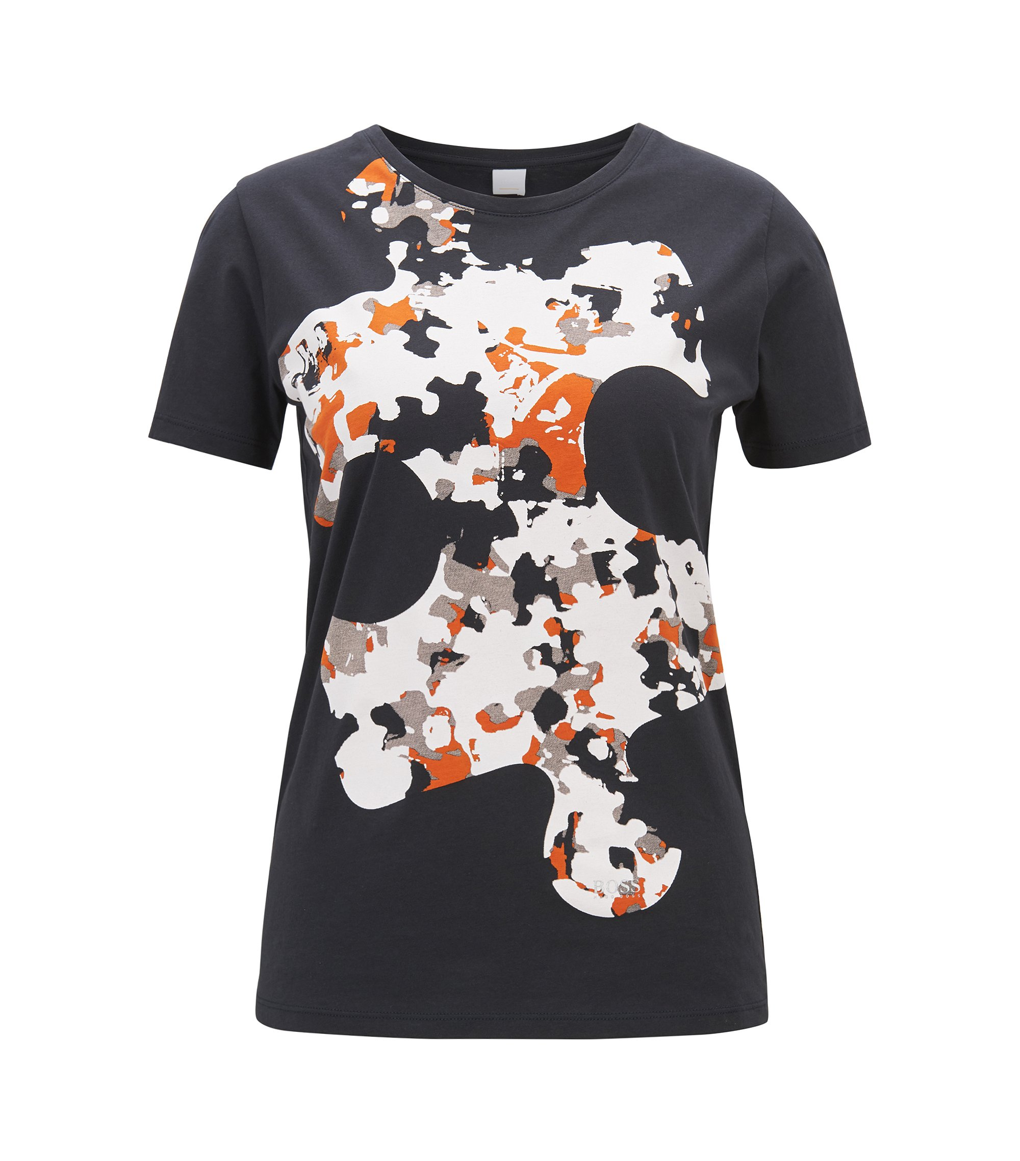 Cotton jersey T-shirt with puzzle print, Patterned