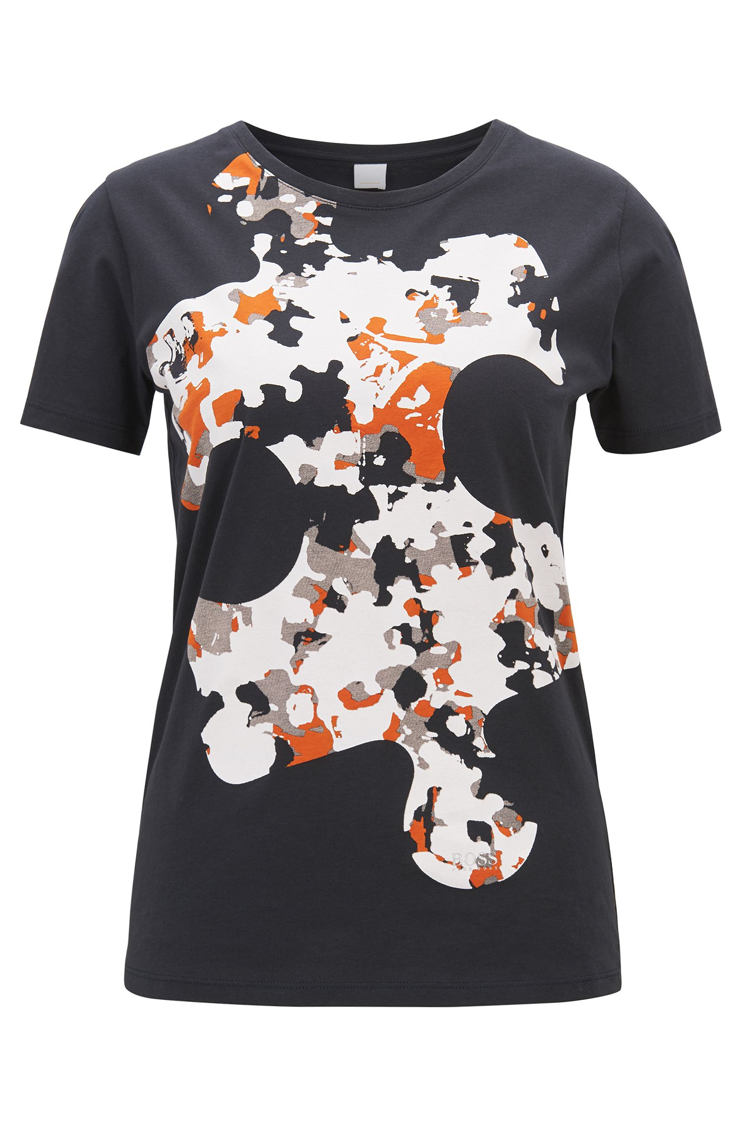 Cotton jersey T-shirt with puzzle print