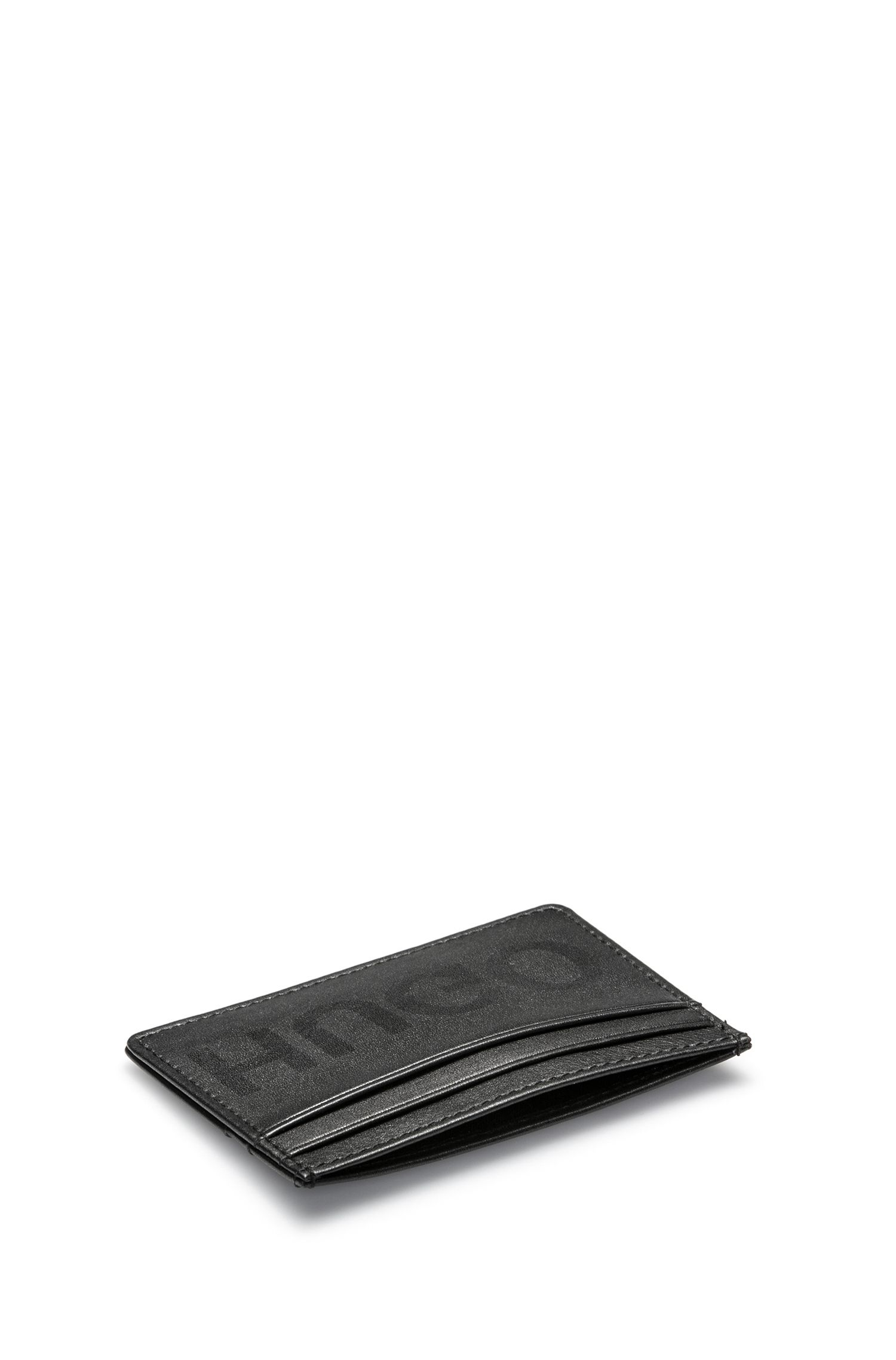 Leather card case with reverse logo, Black