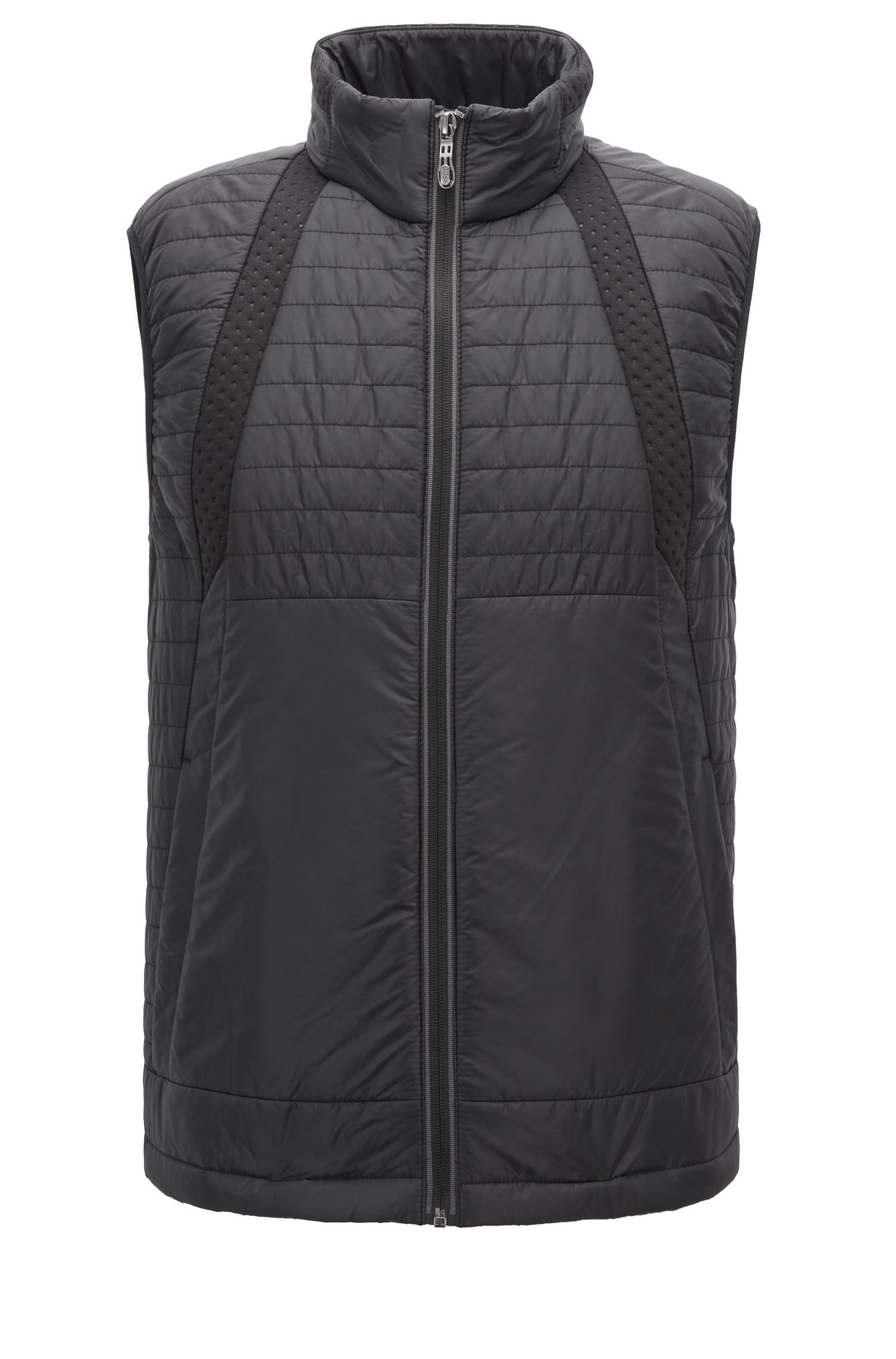 Lightweight padded gilet in water-repellent fabric, Black