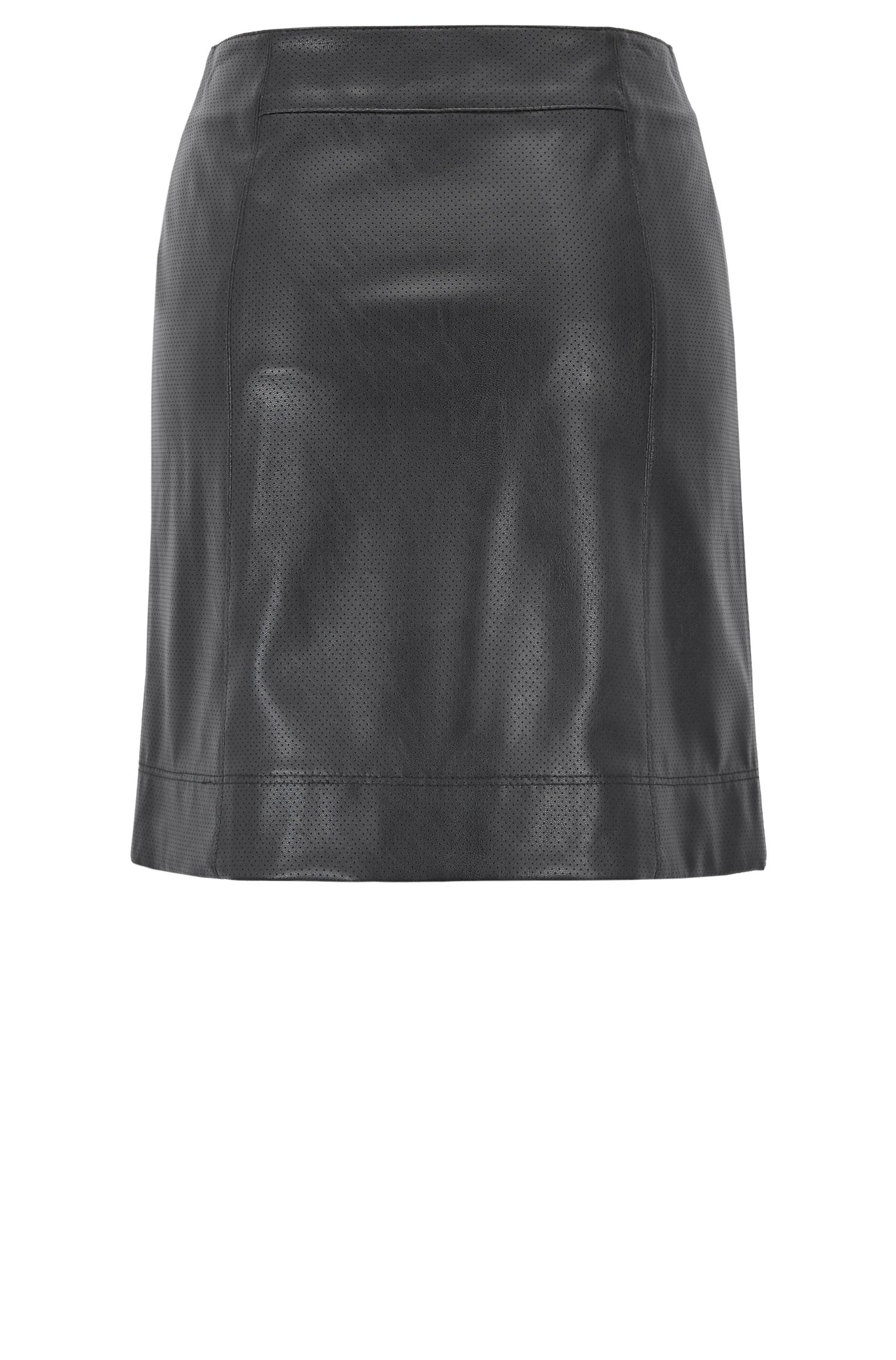 A-line mini skirt in perforated faux leather, Dark Blue