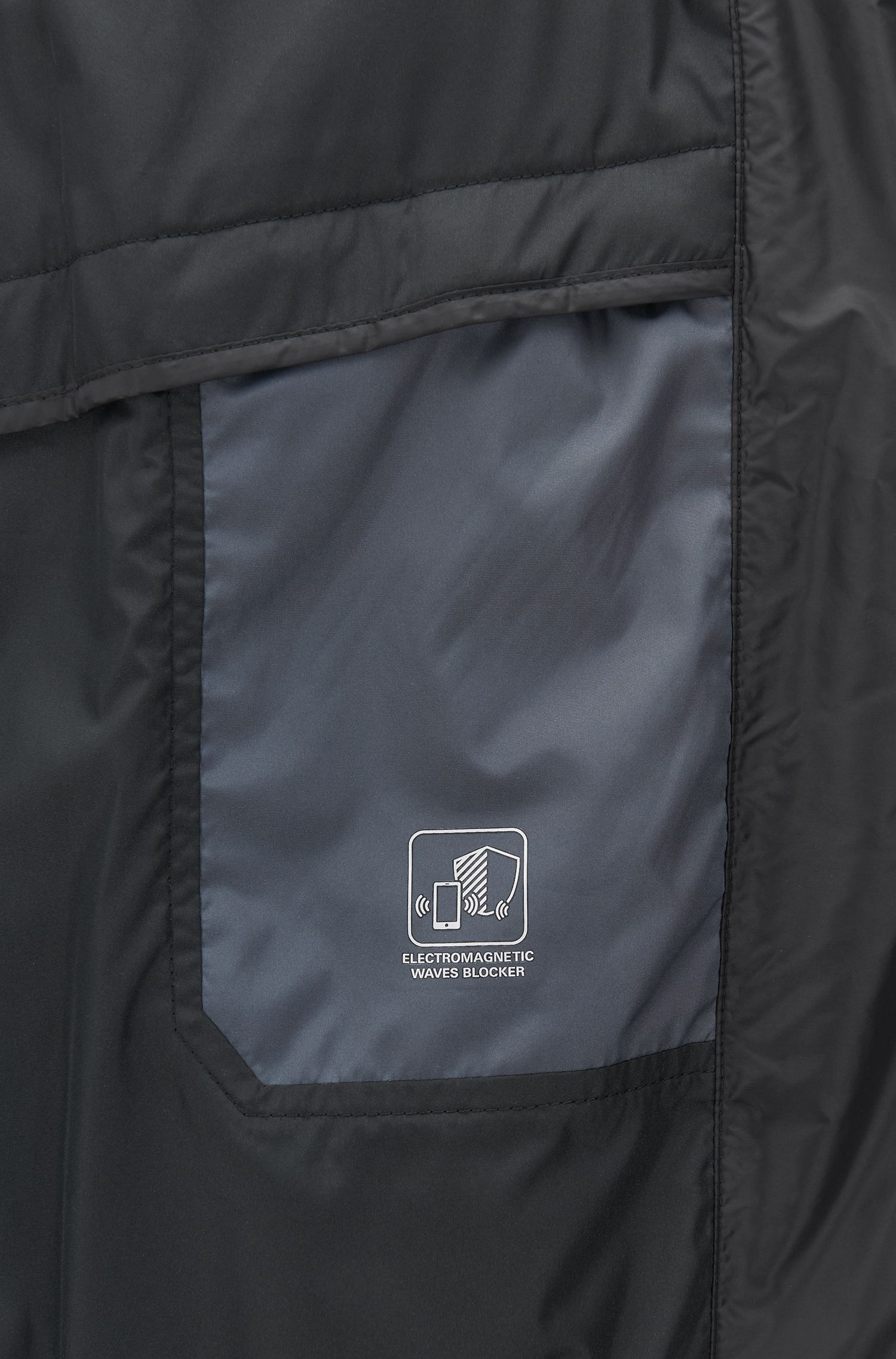 Water-repellent blouson jacket with electromagnetic-waves blocker, Black