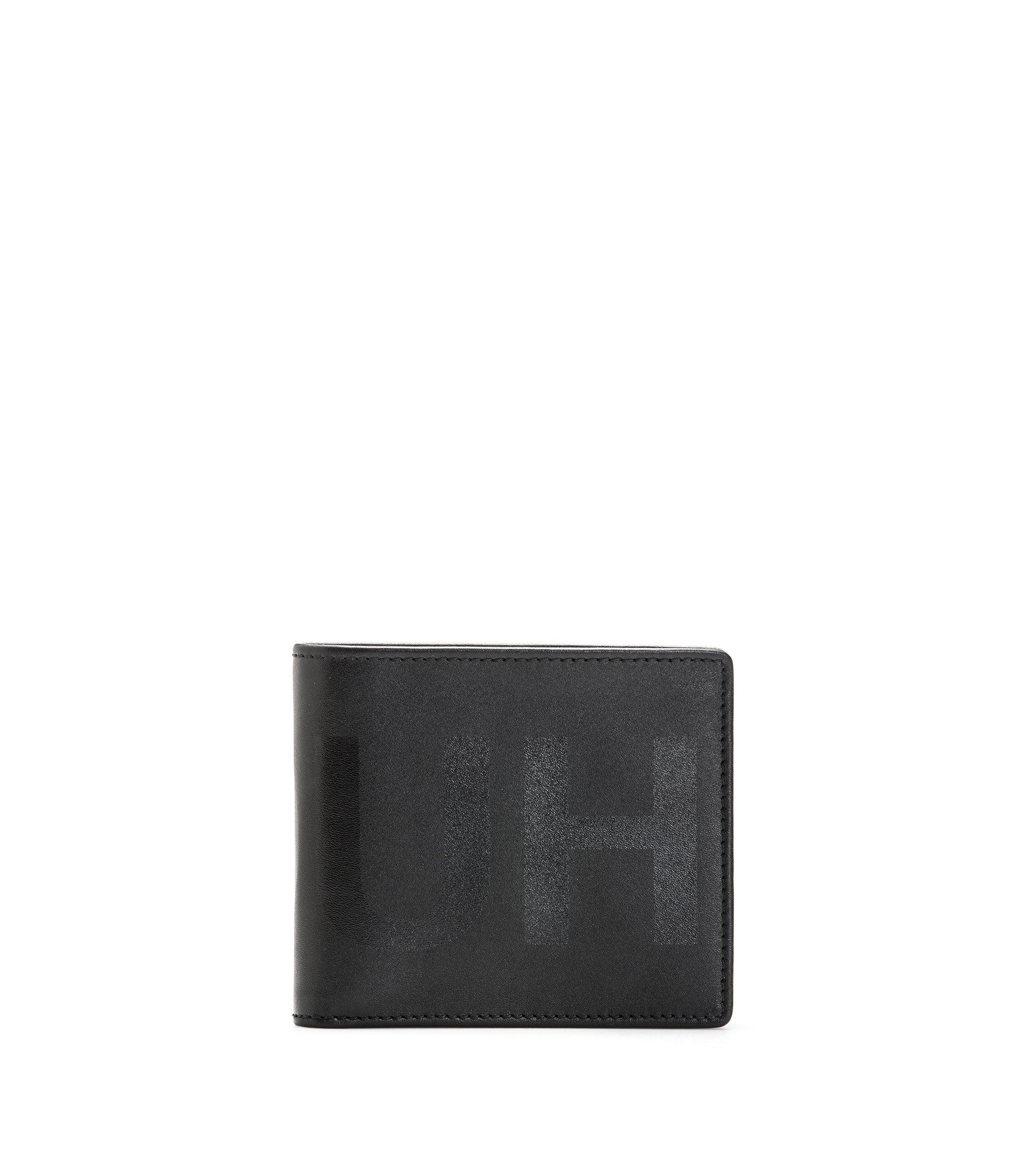 Portafoglio bi-fold in pelle con otto fessure per carte e logo a rovescio tono su tono, Nero