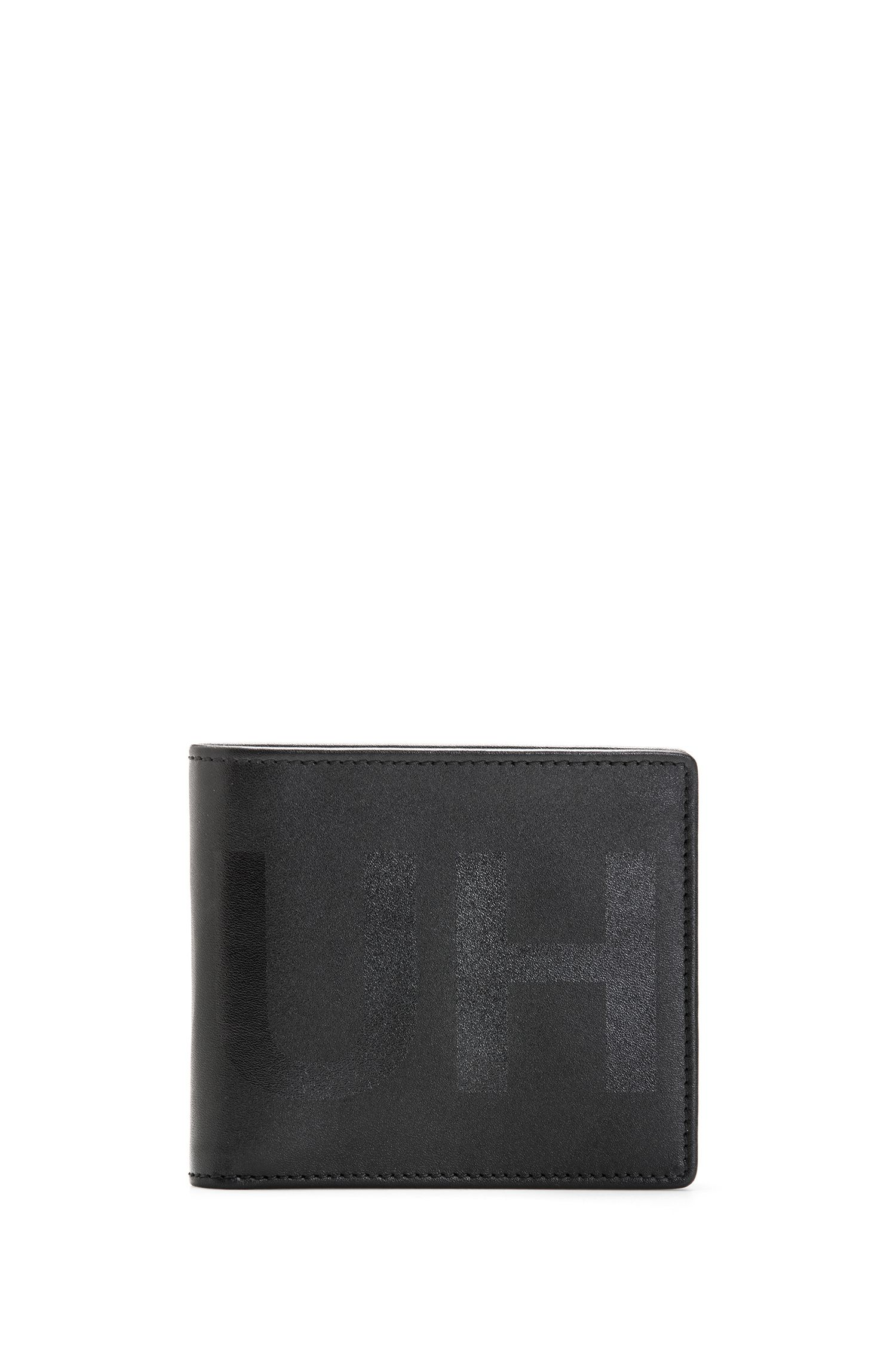 Eight-card leather billfold wallet with tonal reverse logo, Black
